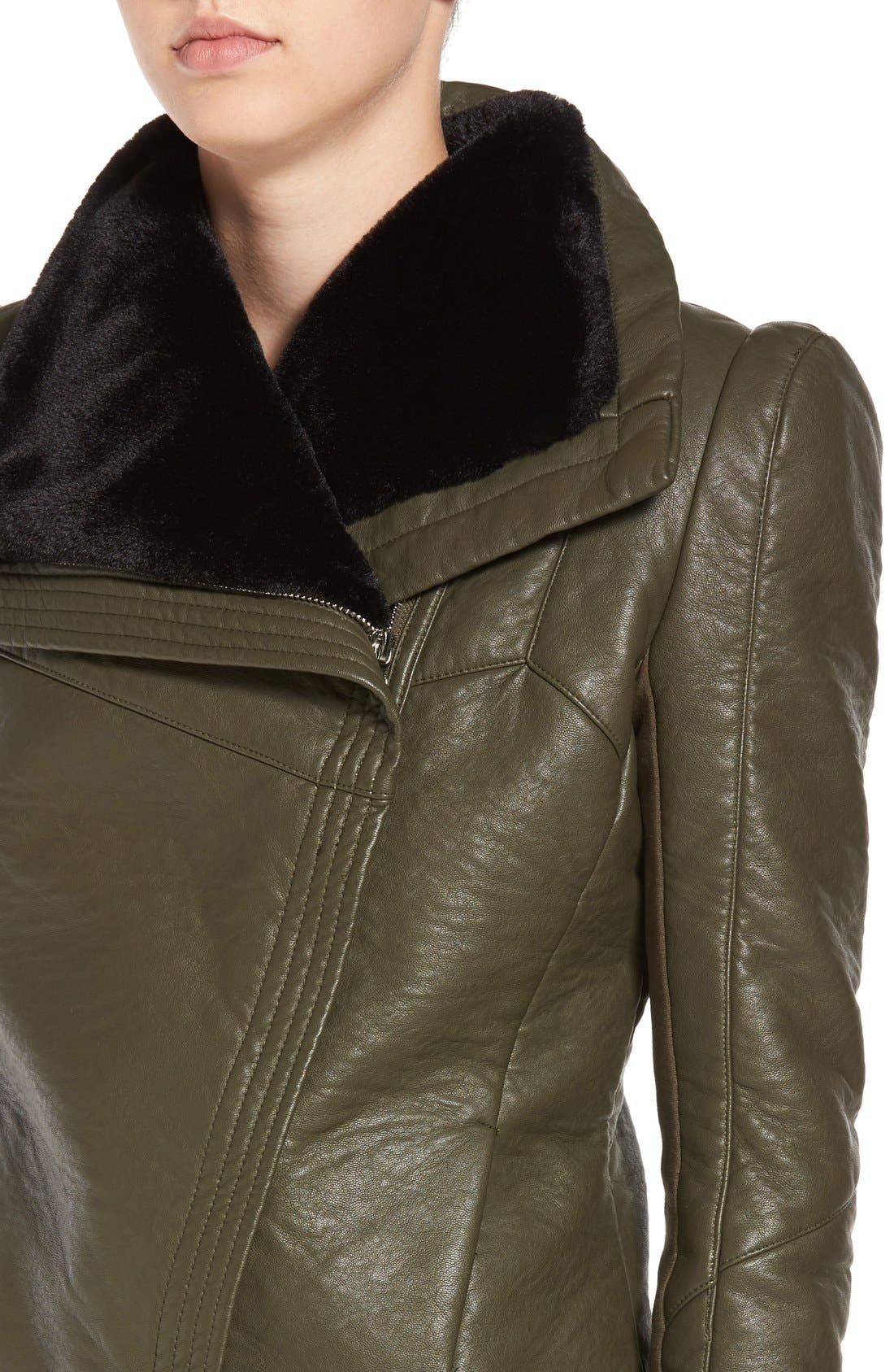 Faux Leather Jacket with Faux Shearling Trim,                             Alternate thumbnail 8, color,