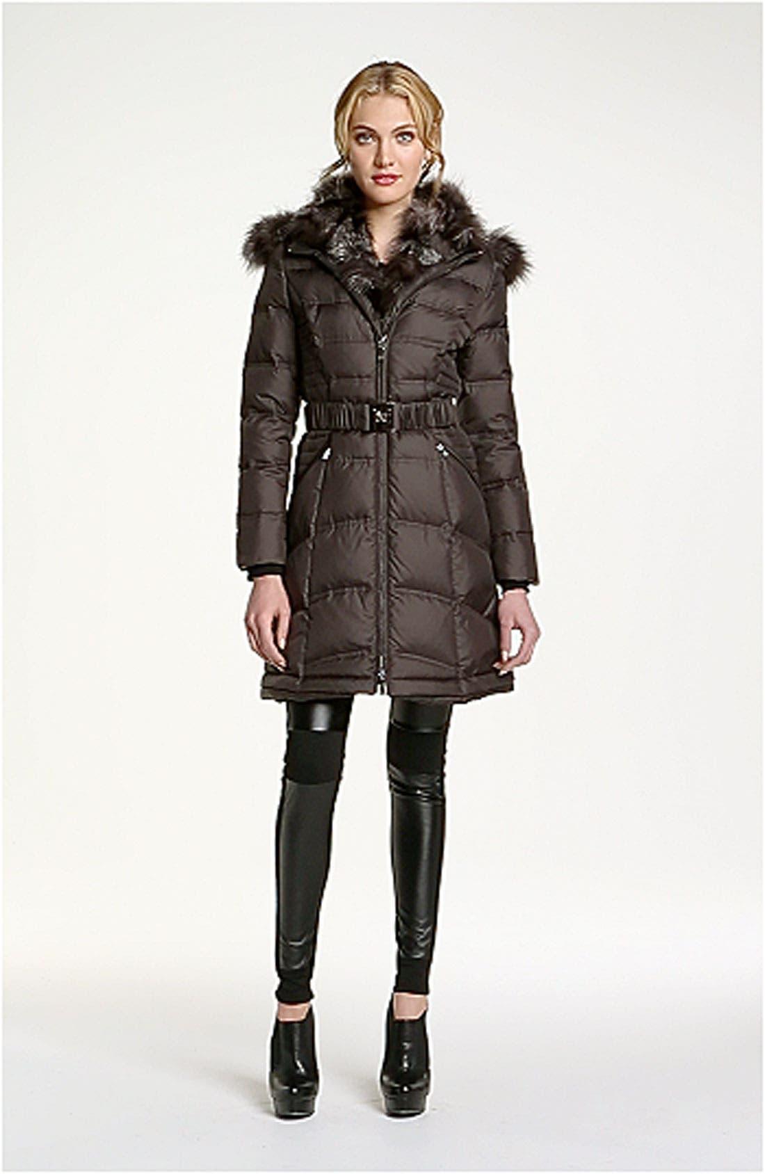 Down Coat with Genuine Fox Fur Trim,                             Alternate thumbnail 5, color,