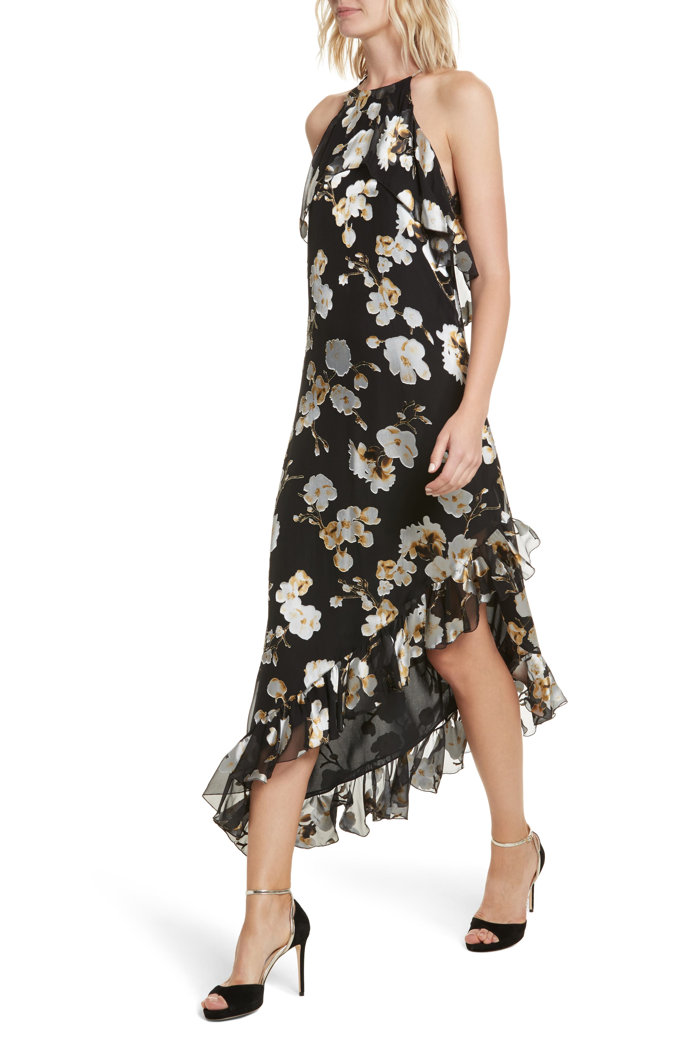 Fabiola Asymmetrical Ruffle A-Line Dress,                             Alternate thumbnail 4, color,                             003