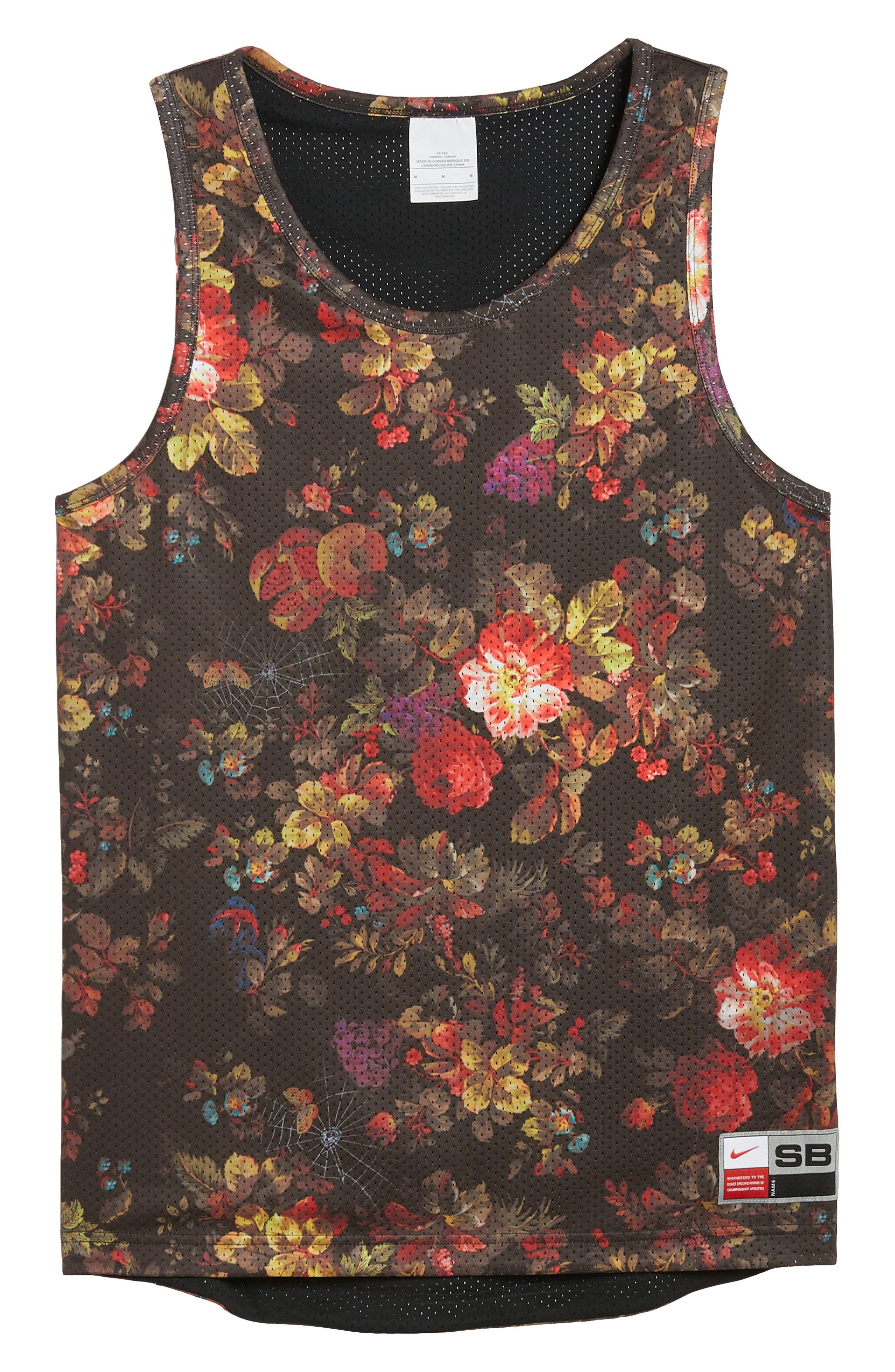 Nike Dry Reversible Floral Mesh Tank,                             Alternate thumbnail 7, color,                             BLACK/ WHITE