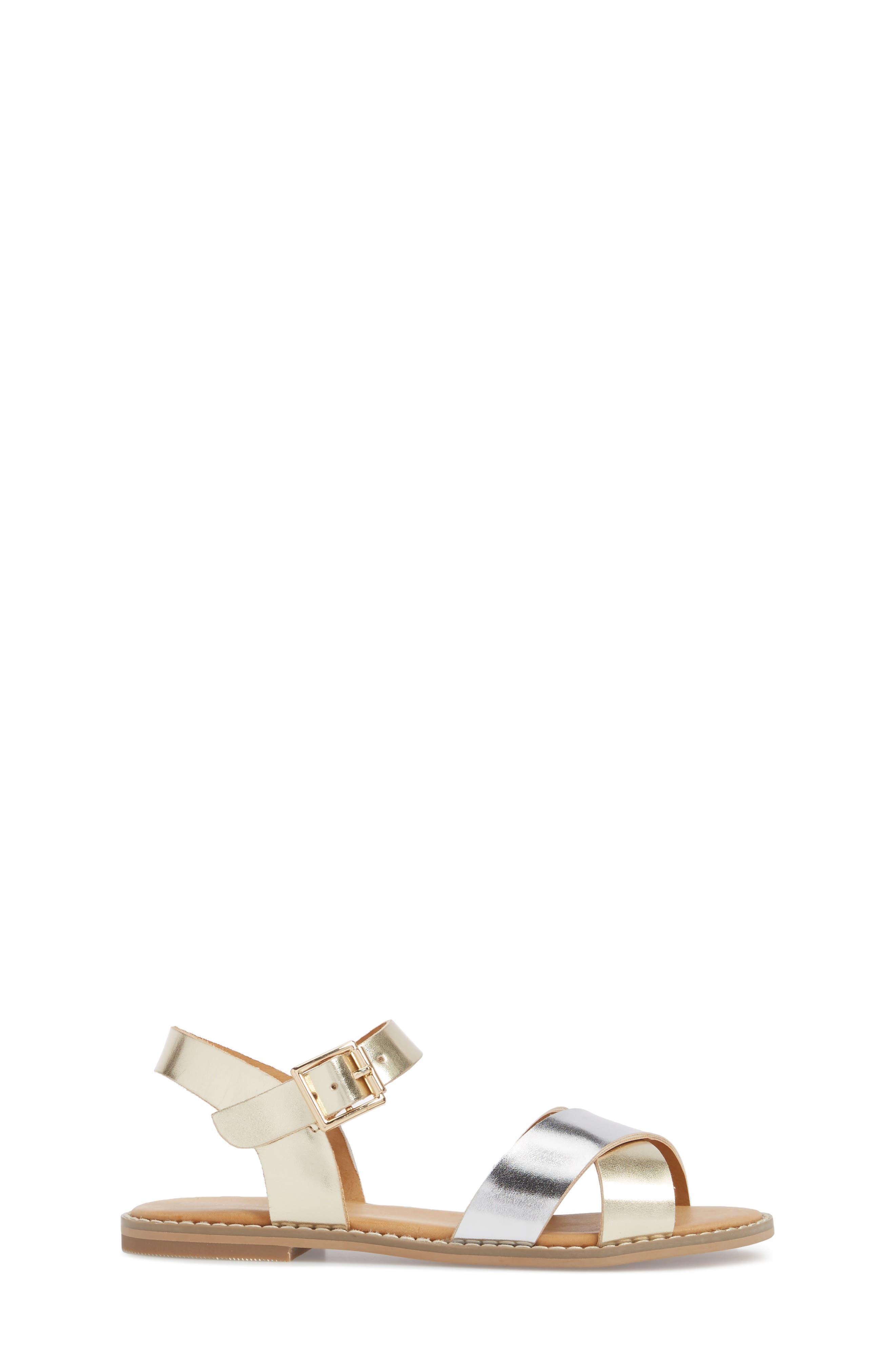 Arya Cross Strap Sandal,                             Alternate thumbnail 3, color,                             SILVER FAUX LEATHER
