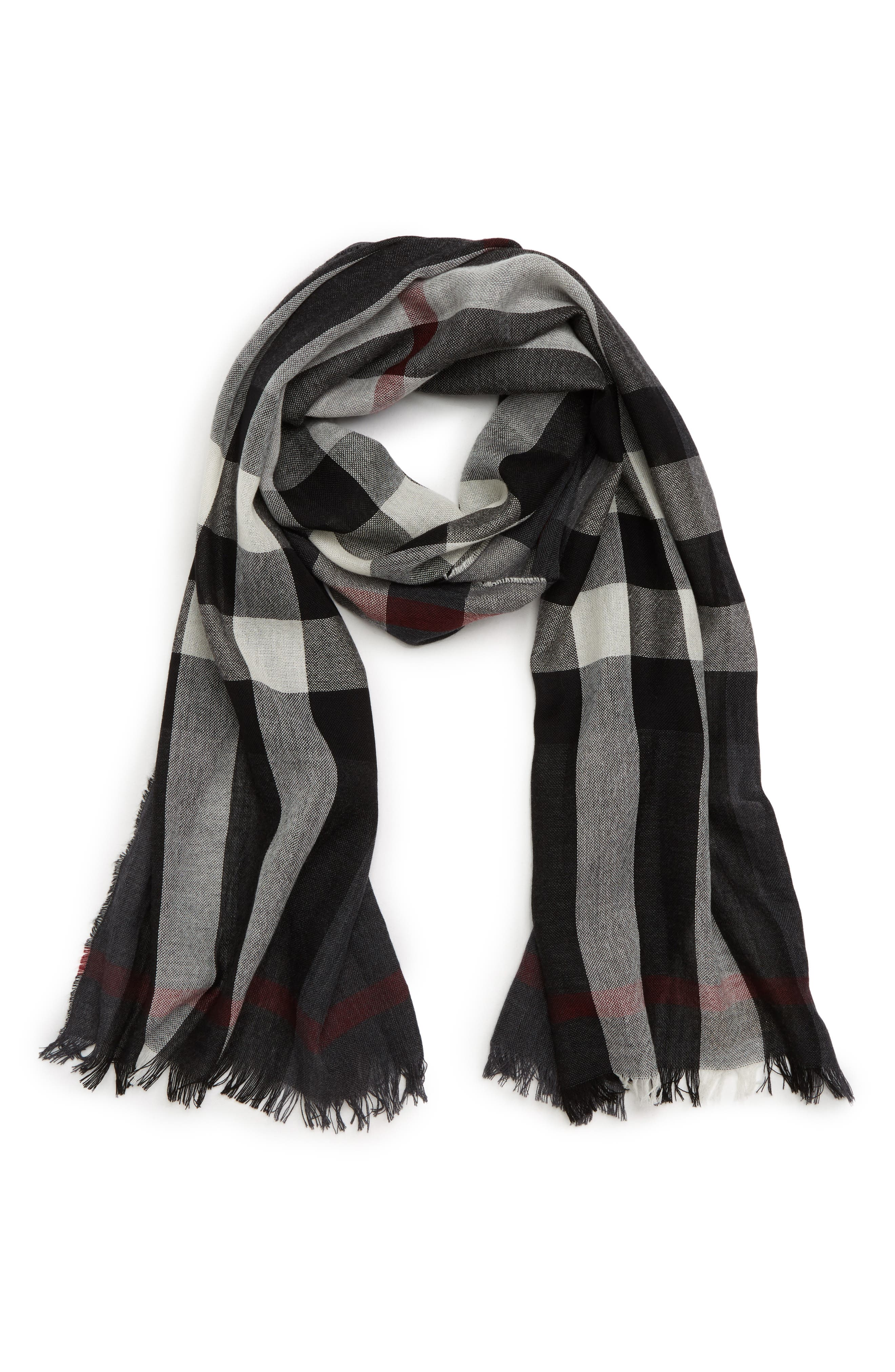 Tonal Lightweight Check Cashmere Wool Scarf,                             Alternate thumbnail 2, color,                             001
