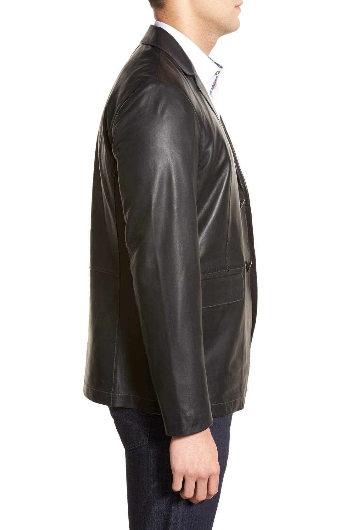 Lambskin Leather Sport Coat,                             Alternate thumbnail 4, color,                             BLACK