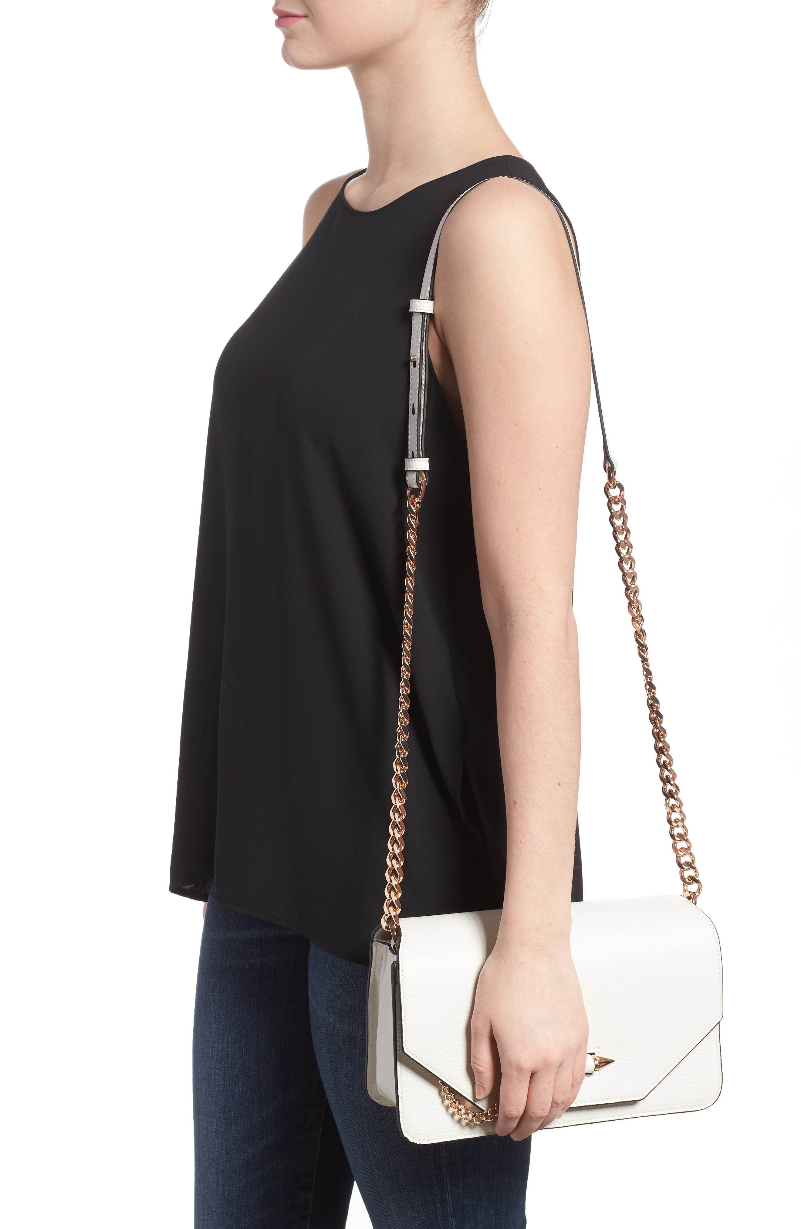 Cortney Nappa Leather Shoulder/Crossbody Bag,                             Alternate thumbnail 2, color,                             WHITE/ ROSE GOLD