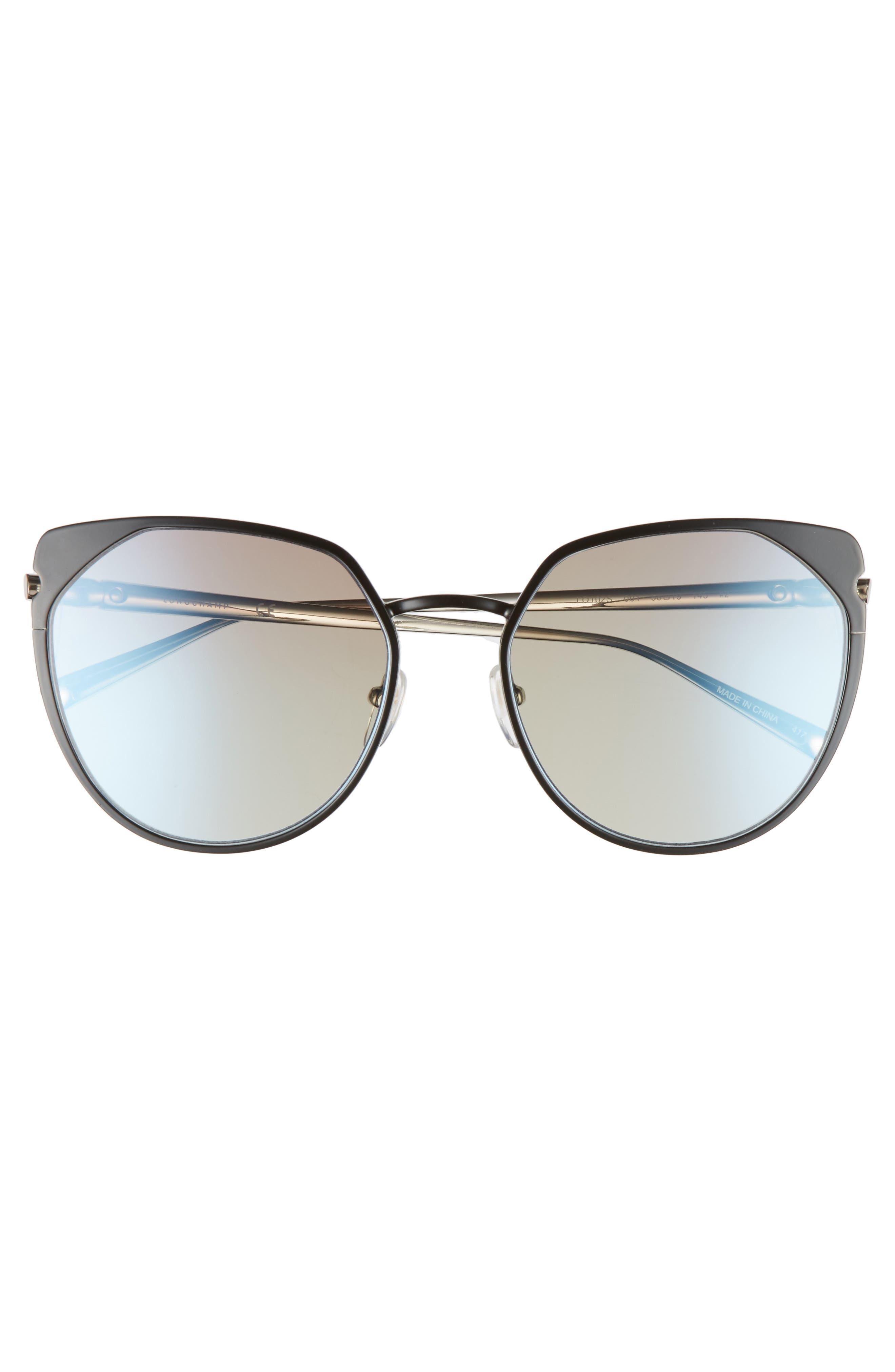 58mm Rounded Cat Eye Sunglasses,                             Alternate thumbnail 3, color,                             001
