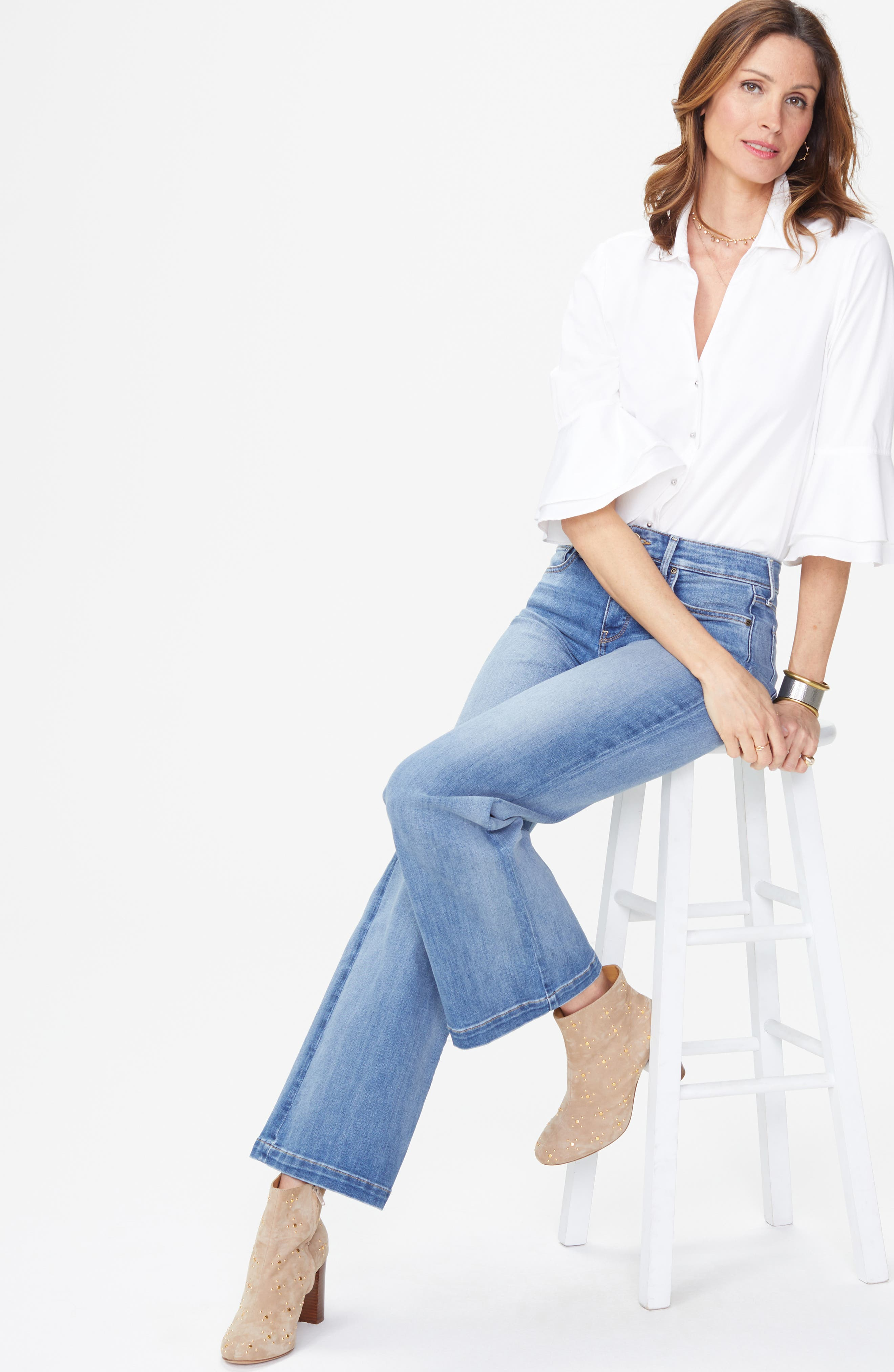 Wide Leg Clean Hem Jeans,                             Alternate thumbnail 6, color,                             CLEAN CABRILLO