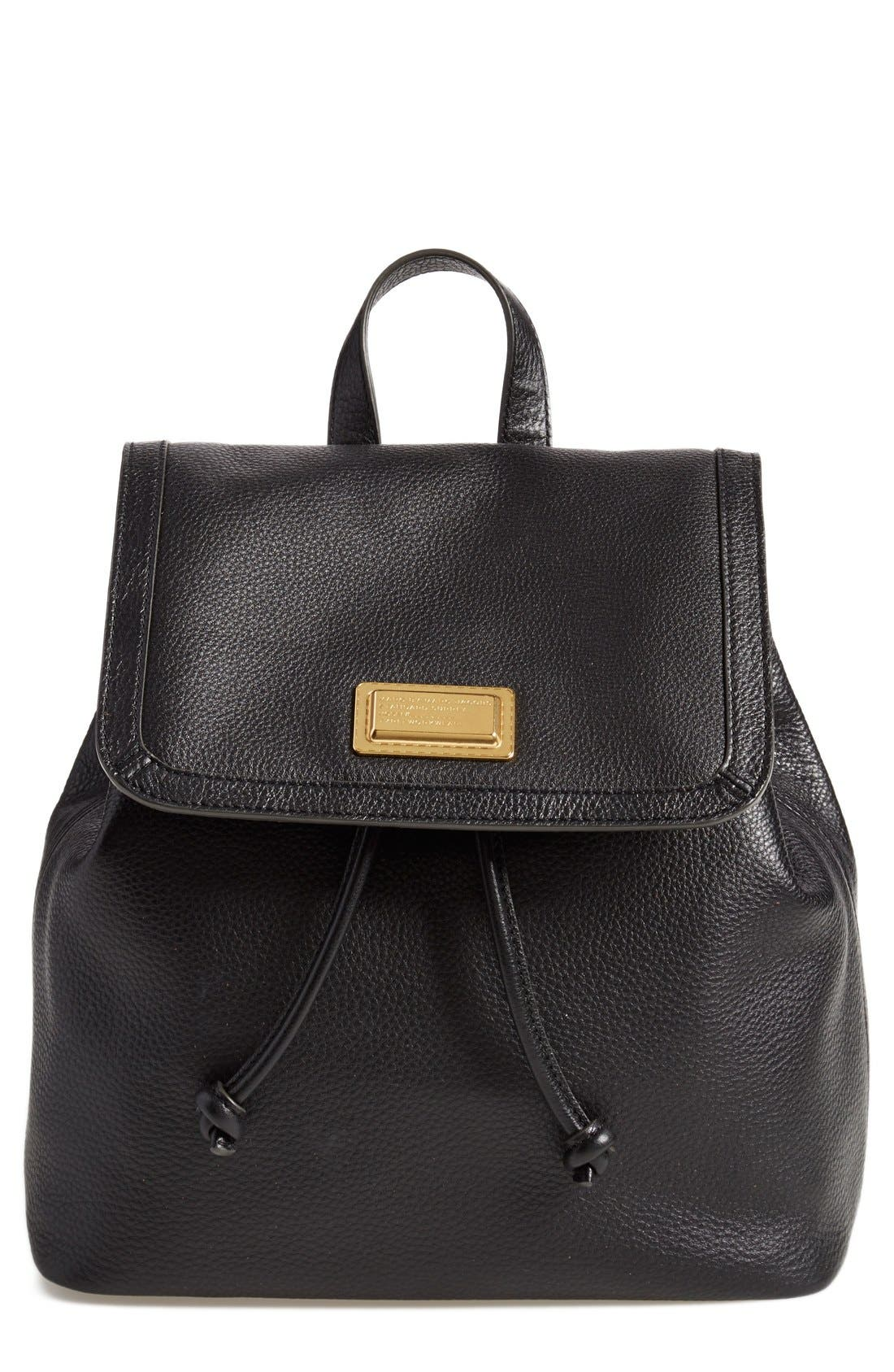 MARC BY MARC JACOBS 'Take Your Marc' Leather Backpack, Main, color, 001