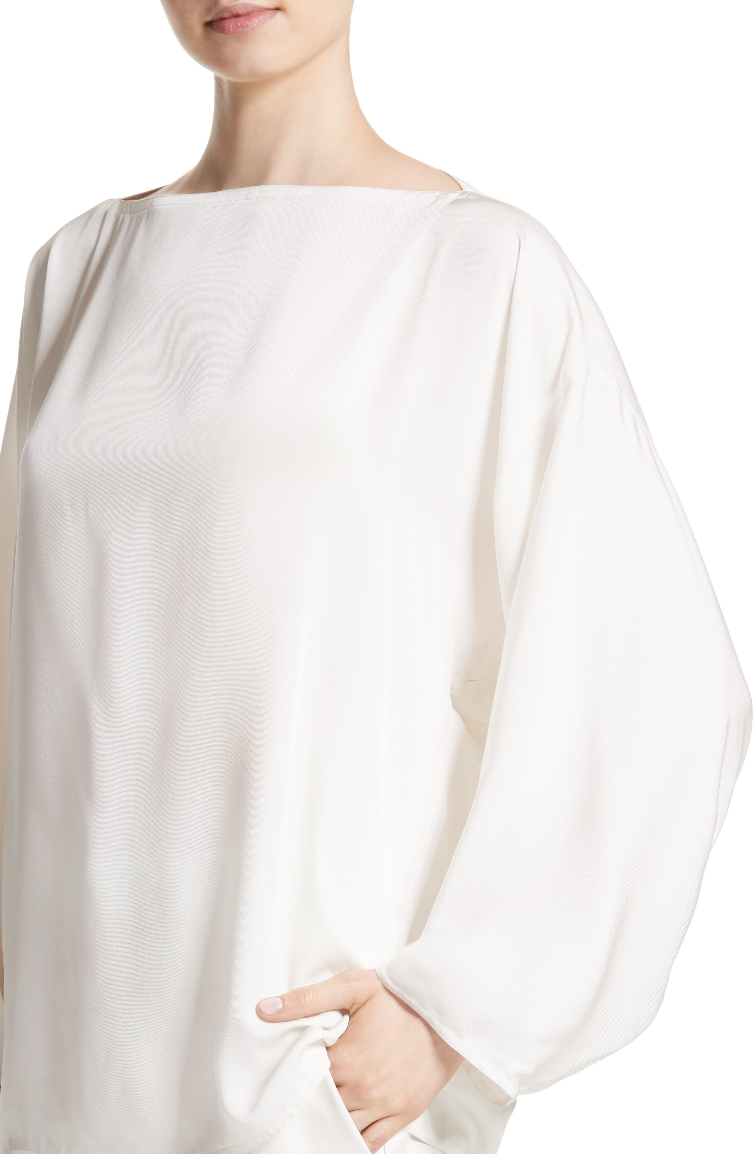 Bateau Neck Silk Blouse,                             Alternate thumbnail 4, color,                             100
