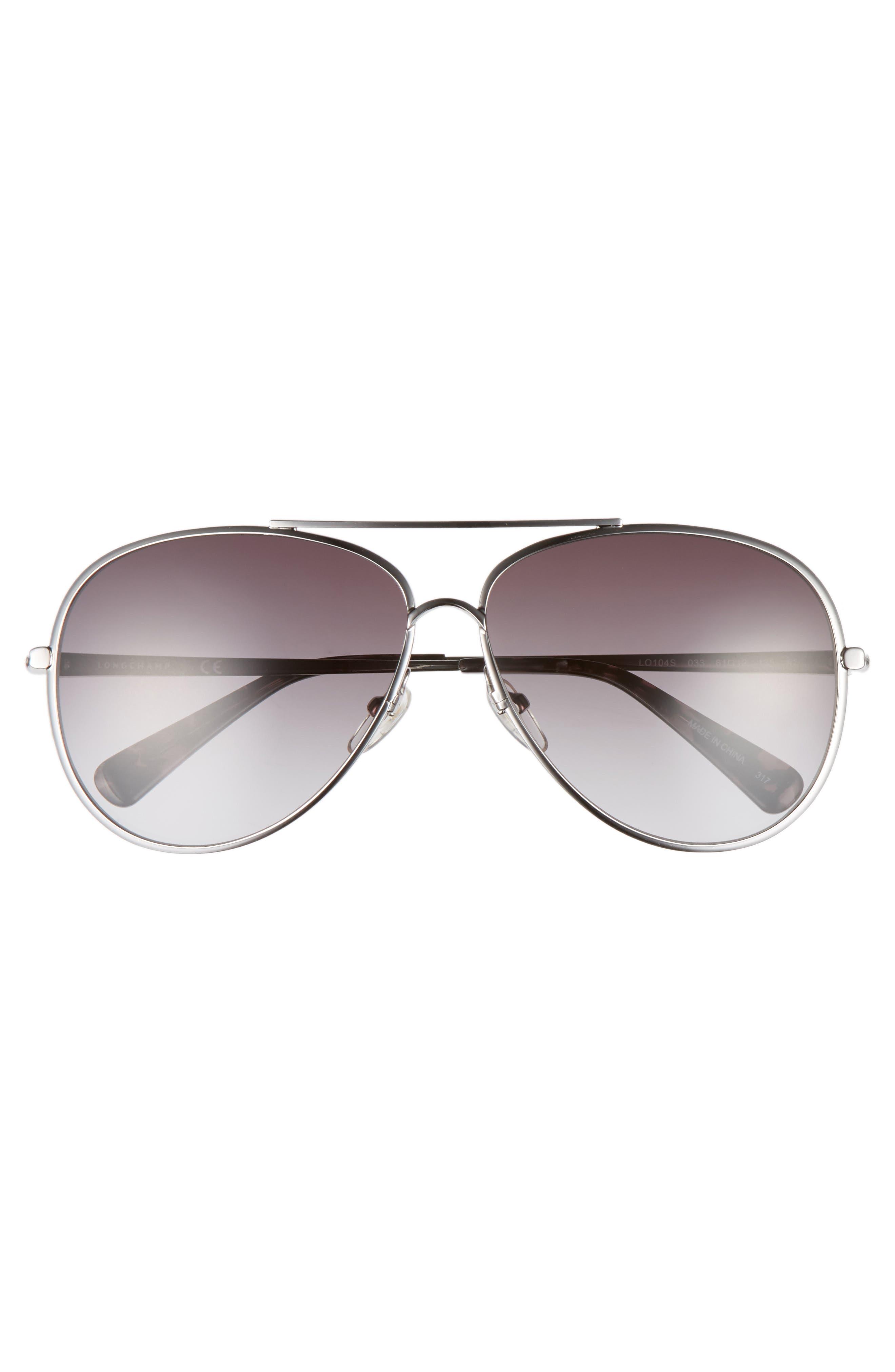 61mm Gradient Lens Aviator Sunglasses,                             Alternate thumbnail 3, color,                             033