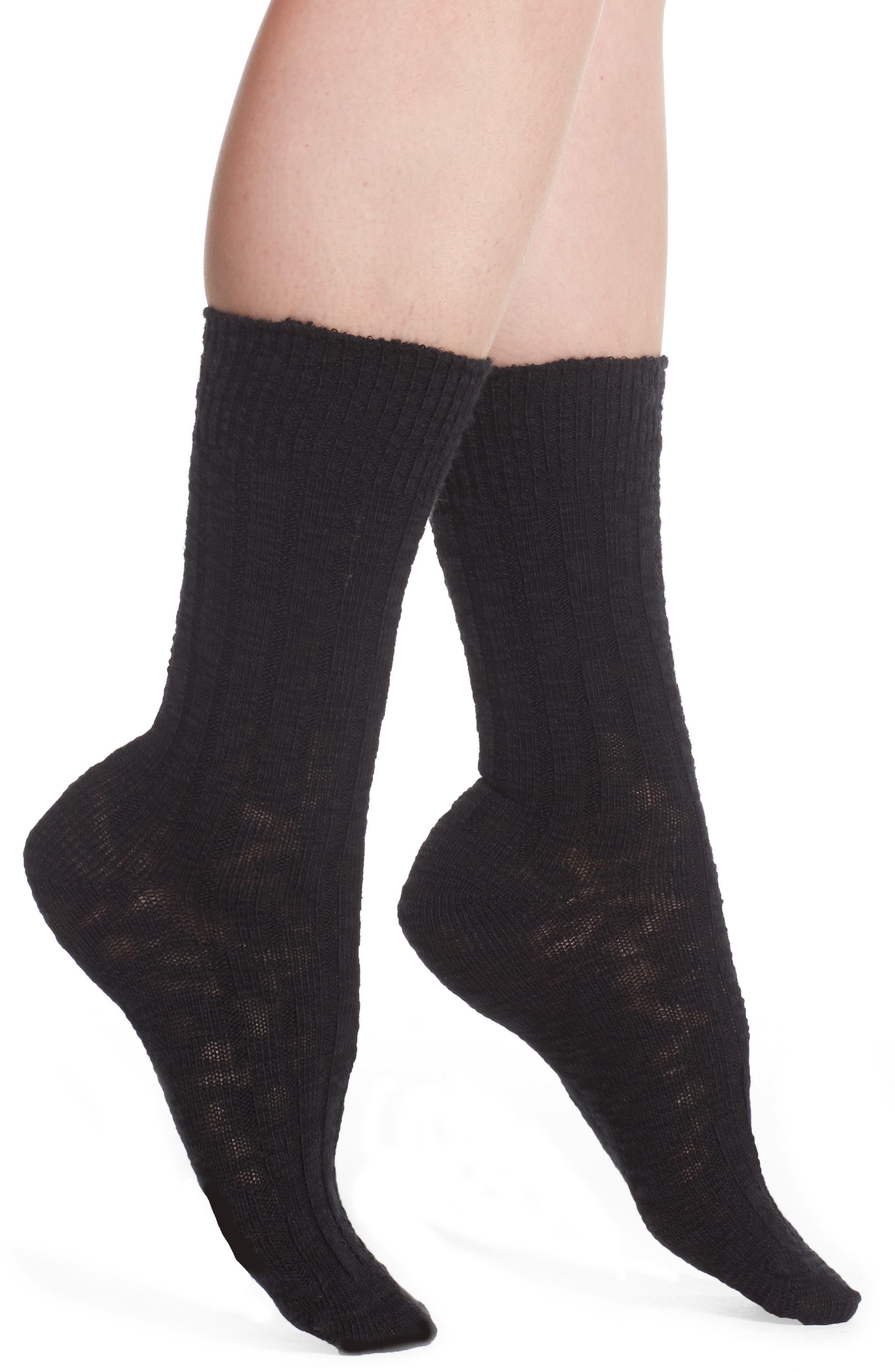 Boot Socks,                             Main thumbnail 1, color,                             BLACK SOLID