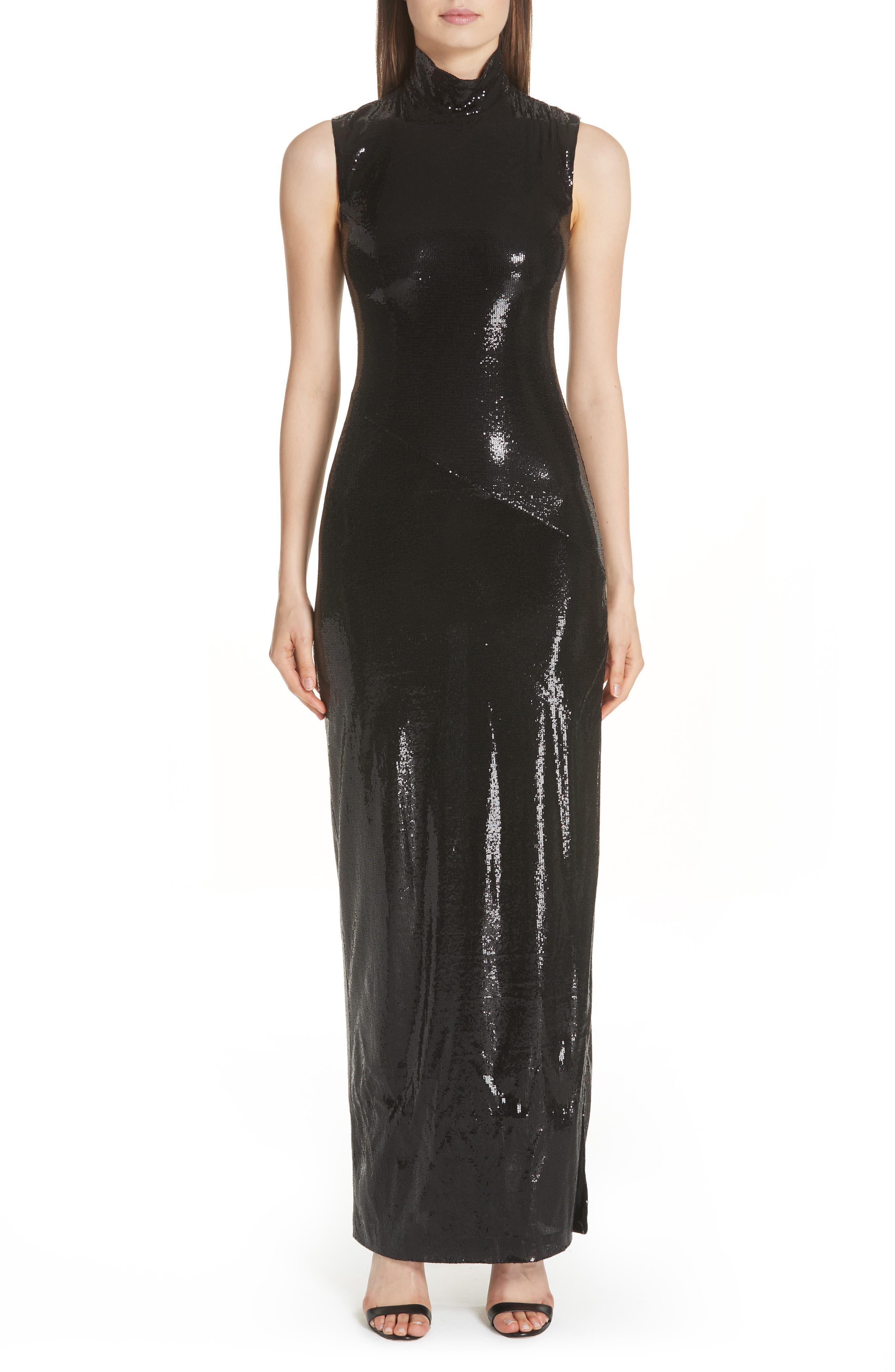 GALVAN Turtleneck Sequin Gown, Main, color, BLACK