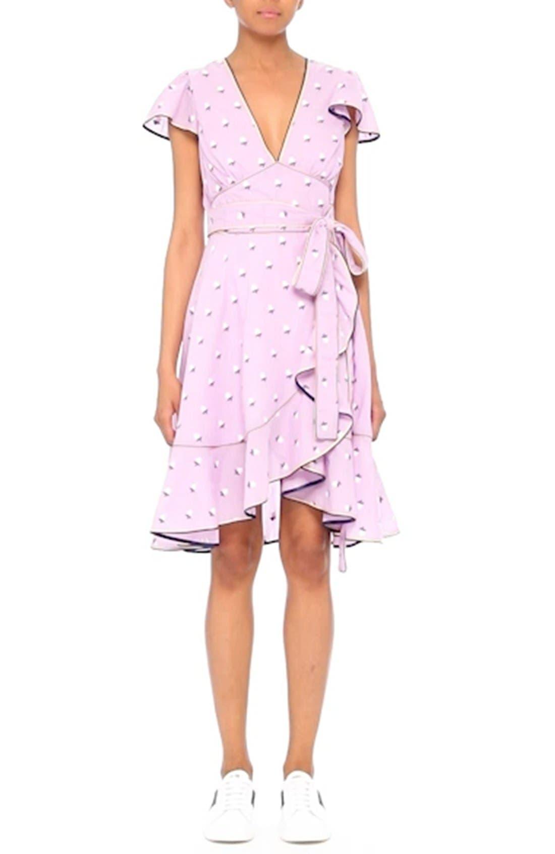 Ruffle Reverse Fil Coupé Dress,                             Alternate thumbnail 7, color,                             507