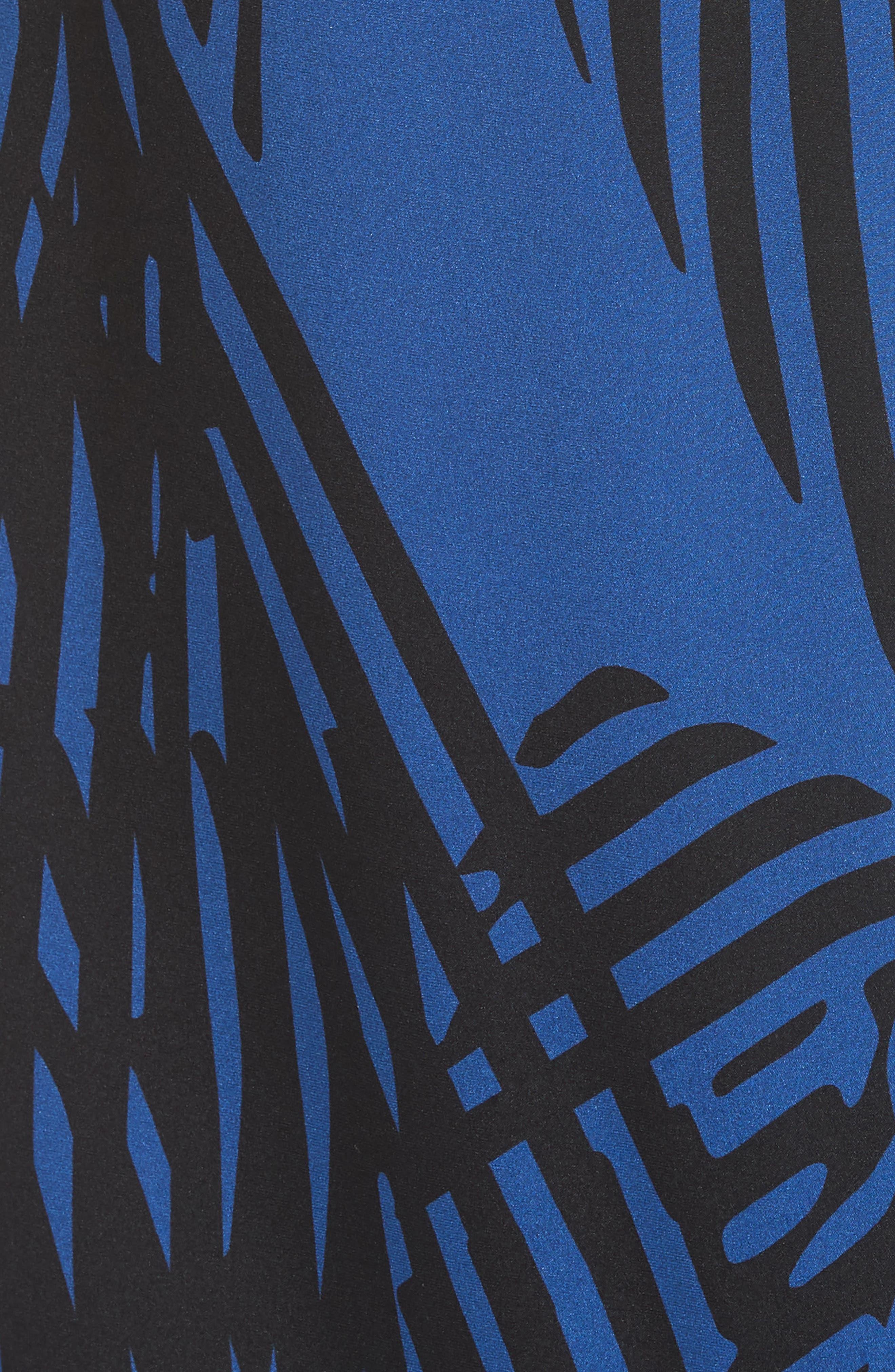 Ribbon Print Stretch Silk Dress,                             Alternate thumbnail 5, color,                             400