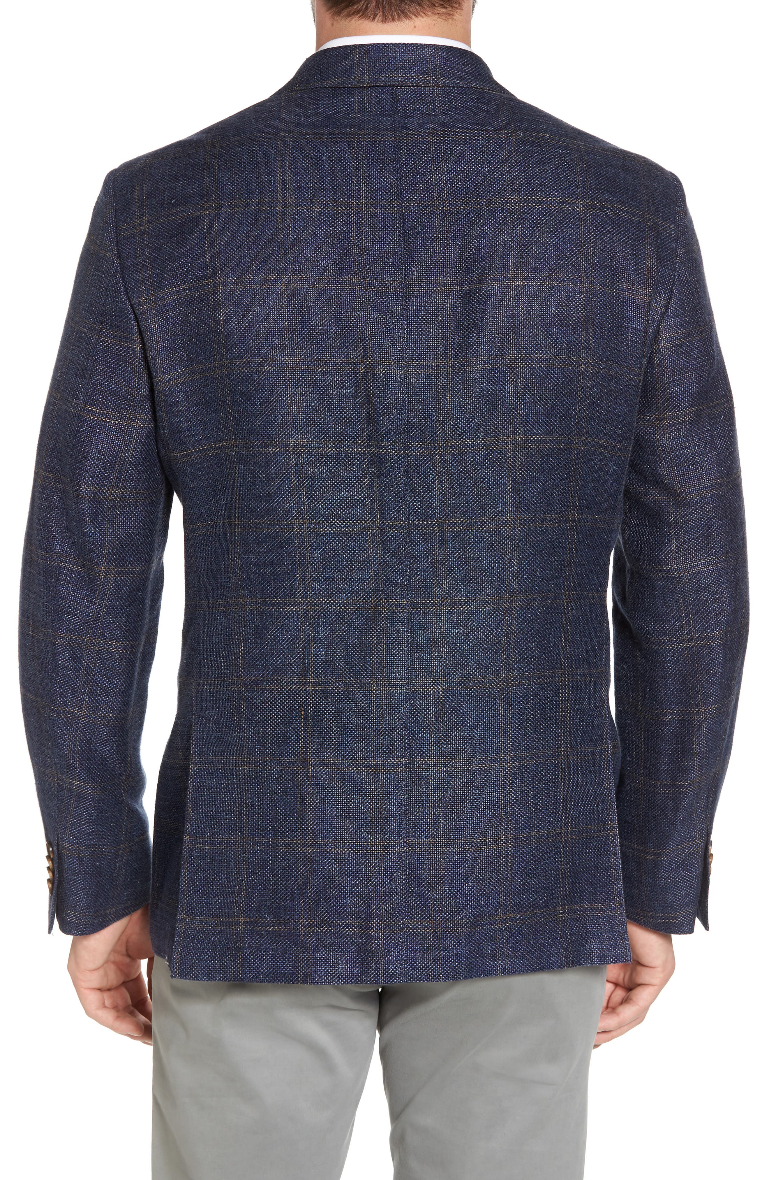 Classic Fit Windowpane Linen Blend Sport Coat,                             Alternate thumbnail 2, color,