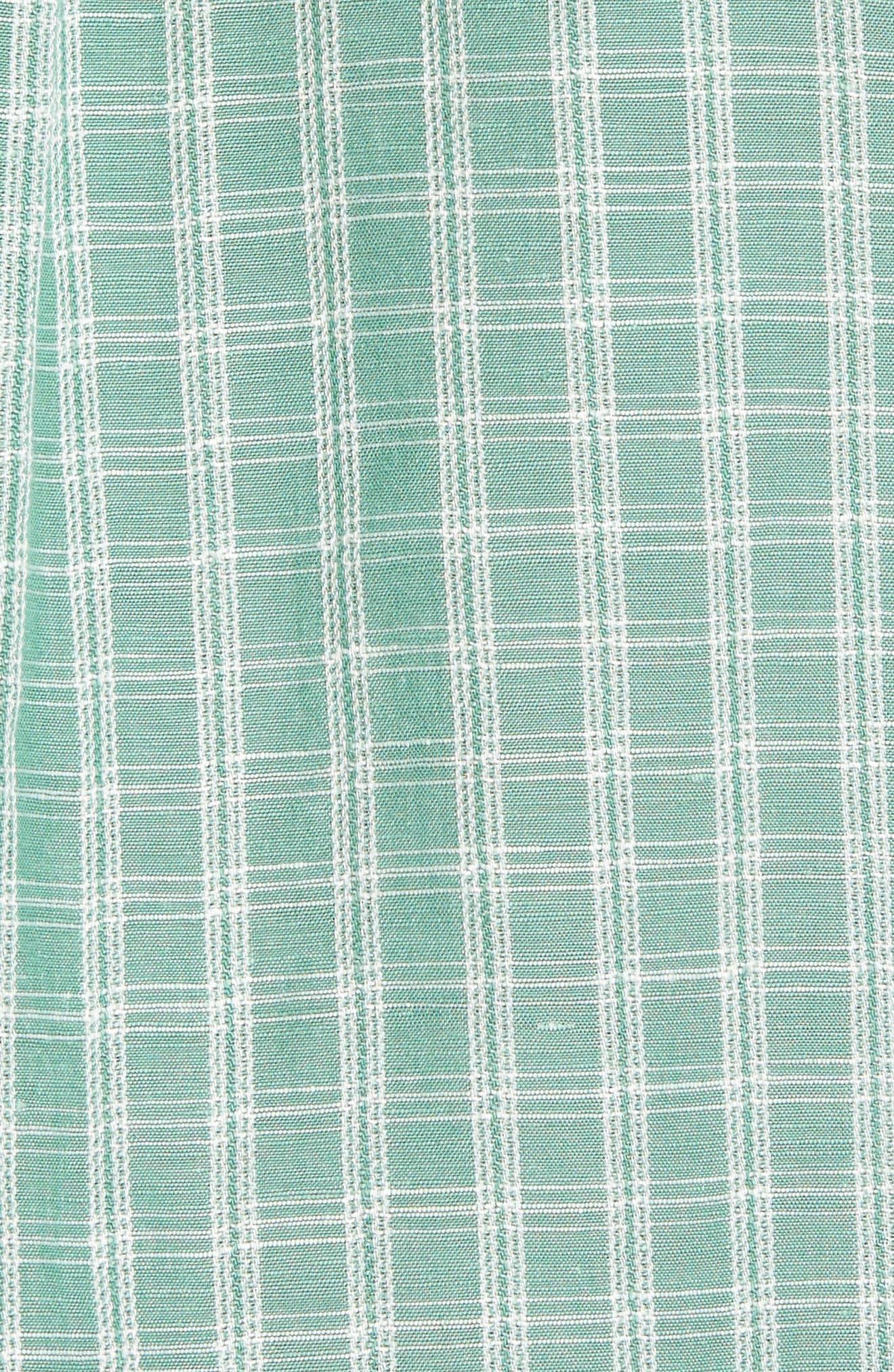 Plaid Sand Linen Blend Sport Shirt,                             Alternate thumbnail 13, color,