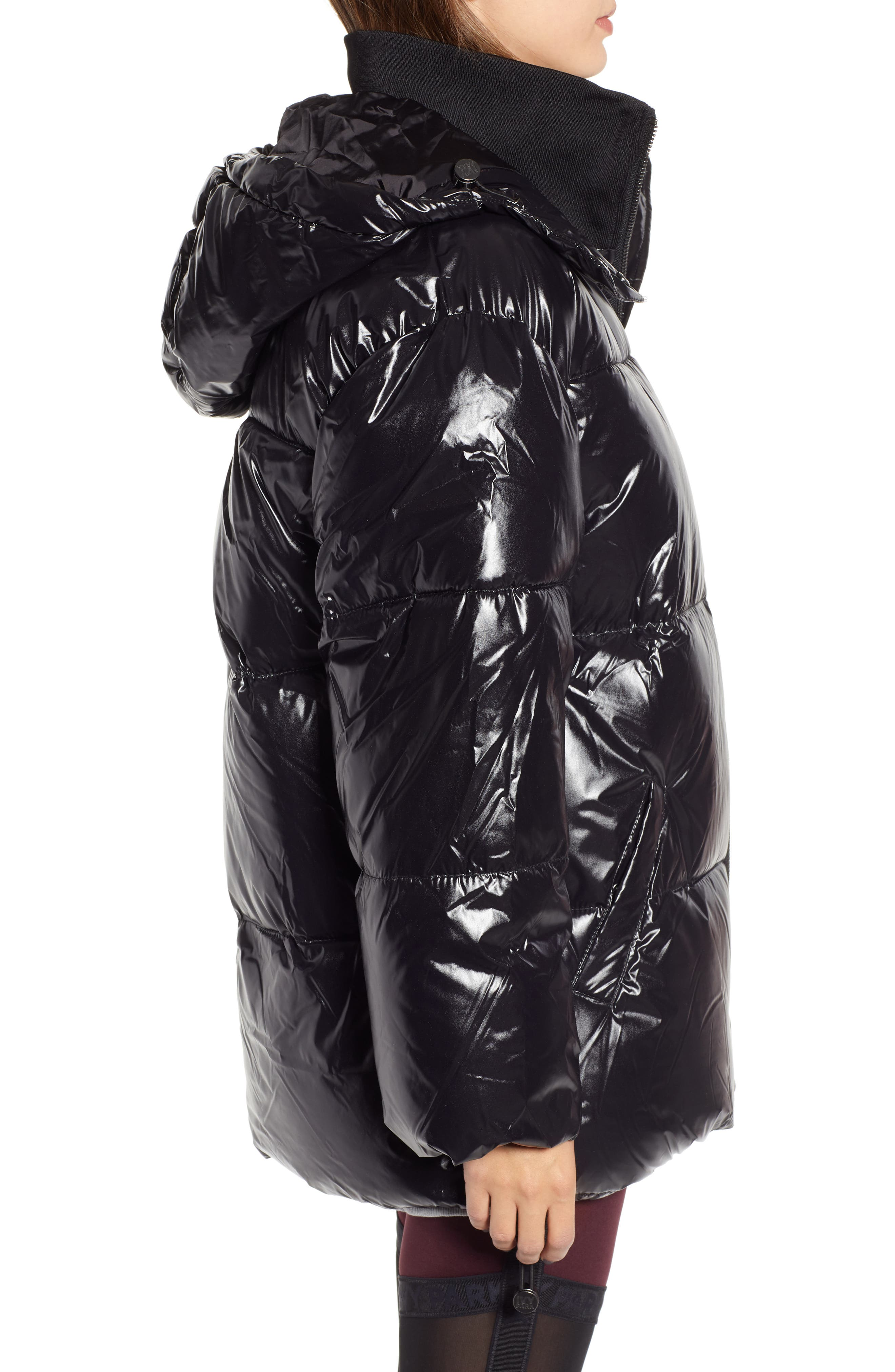 Glossy Puffer Coat,                             Alternate thumbnail 3, color,                             BLACK