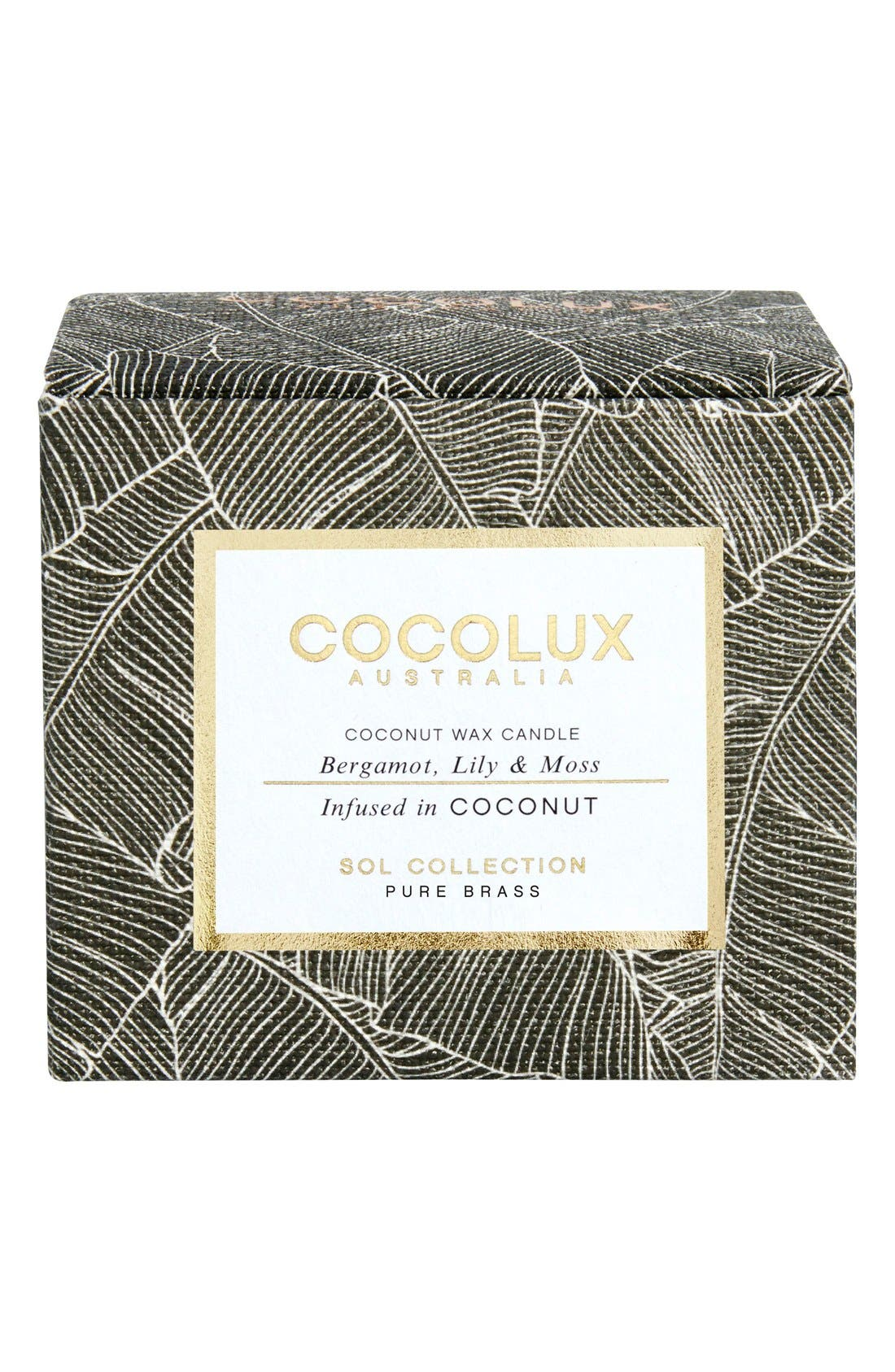 Bergamot, Lily & Moss Small Brass Candle,                             Alternate thumbnail 2, color,                             000