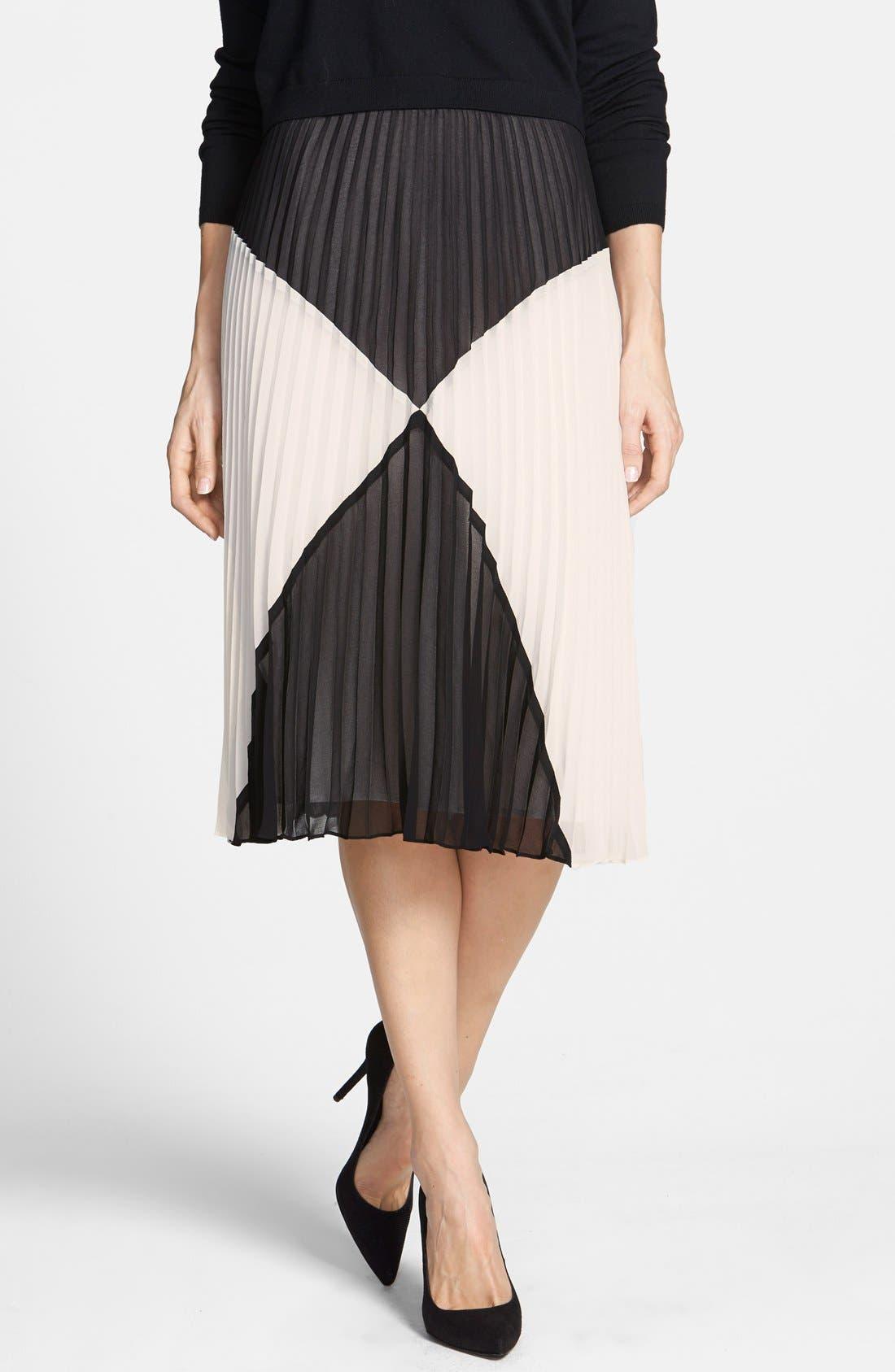 HALOGEN<SUP>®</SUP> 'Sunburst' Pleat Midi Skirt, Main, color, 001