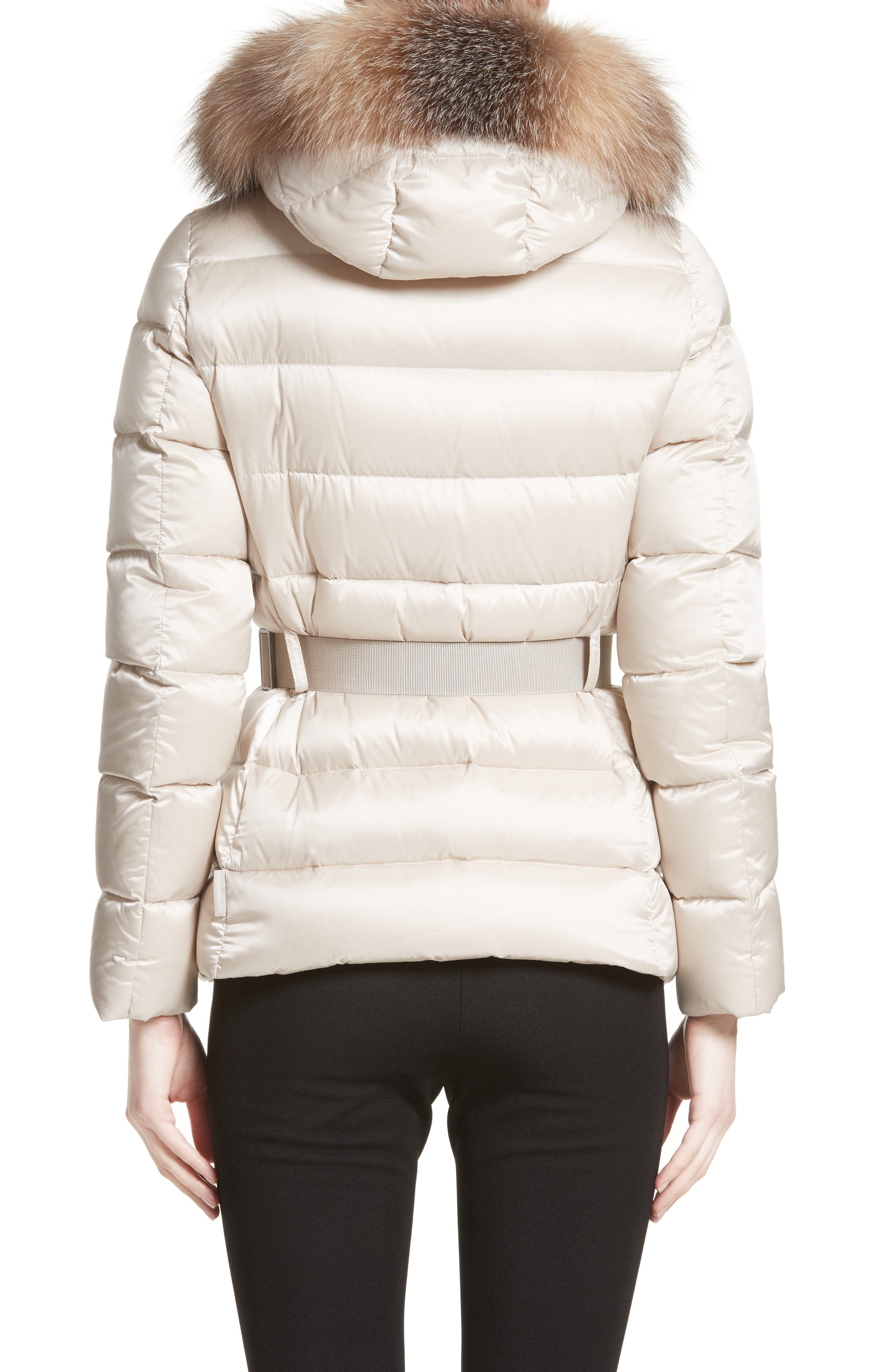 Tatie Belted Down Puffer Coat with Removable Genuine Fox Fur Trim,                             Alternate thumbnail 2, color,                             CHAMPAGNE
