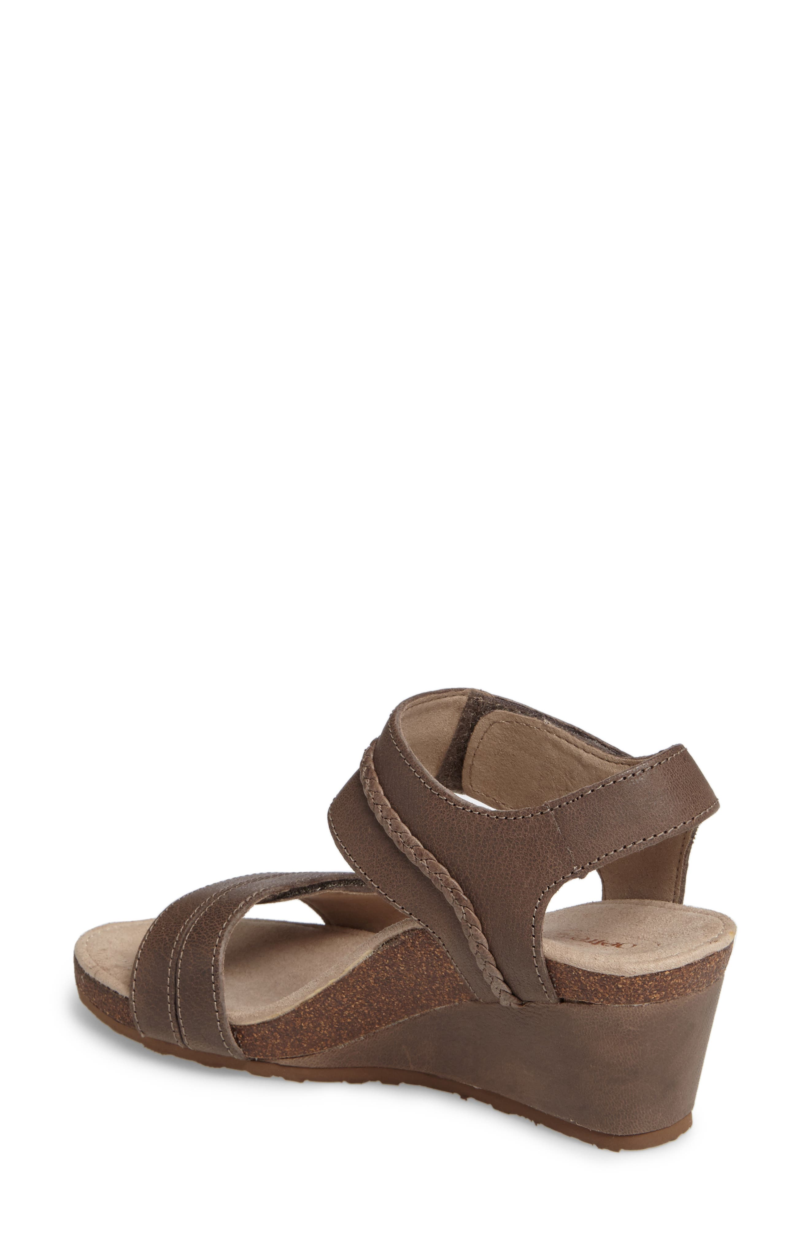 'Arielle' Leather Wedge Sandal,                             Alternate thumbnail 2, color,                             STONE LEATHER