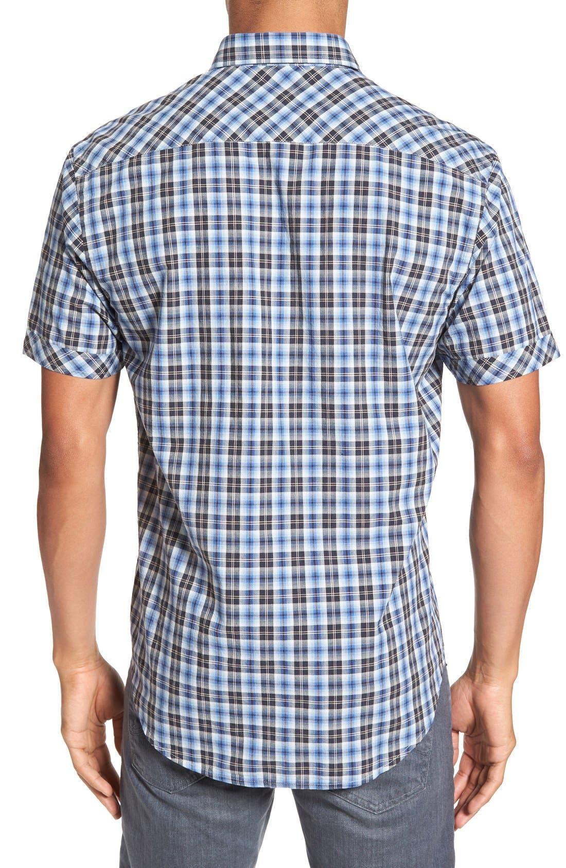 'Getafe' Regular Fit Short Sleeve Plaid Sport Shirt,                             Alternate thumbnail 4, color,                             450