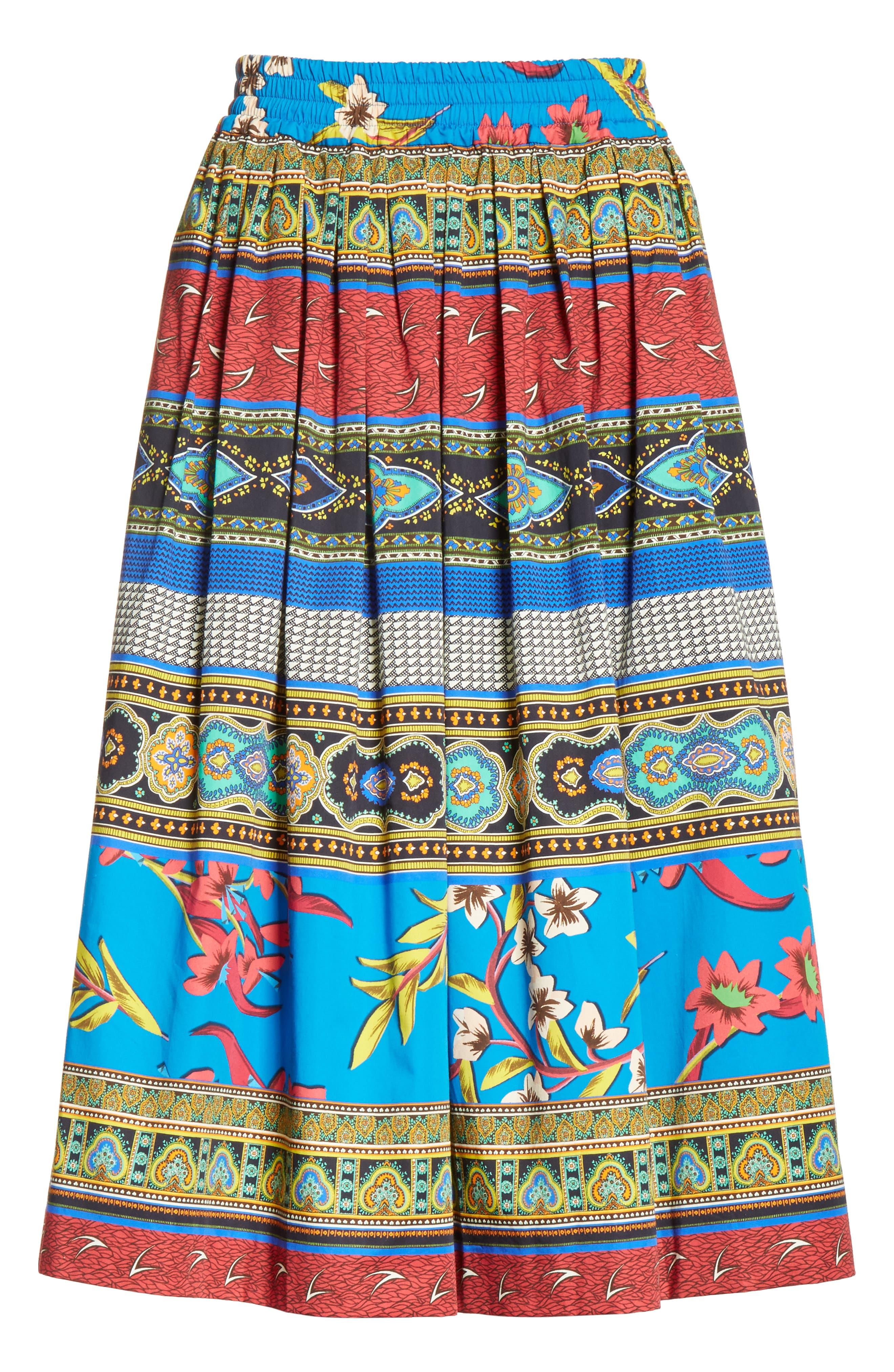 Floral Geo Print Cotton Skirt,                             Alternate thumbnail 6, color,                             410