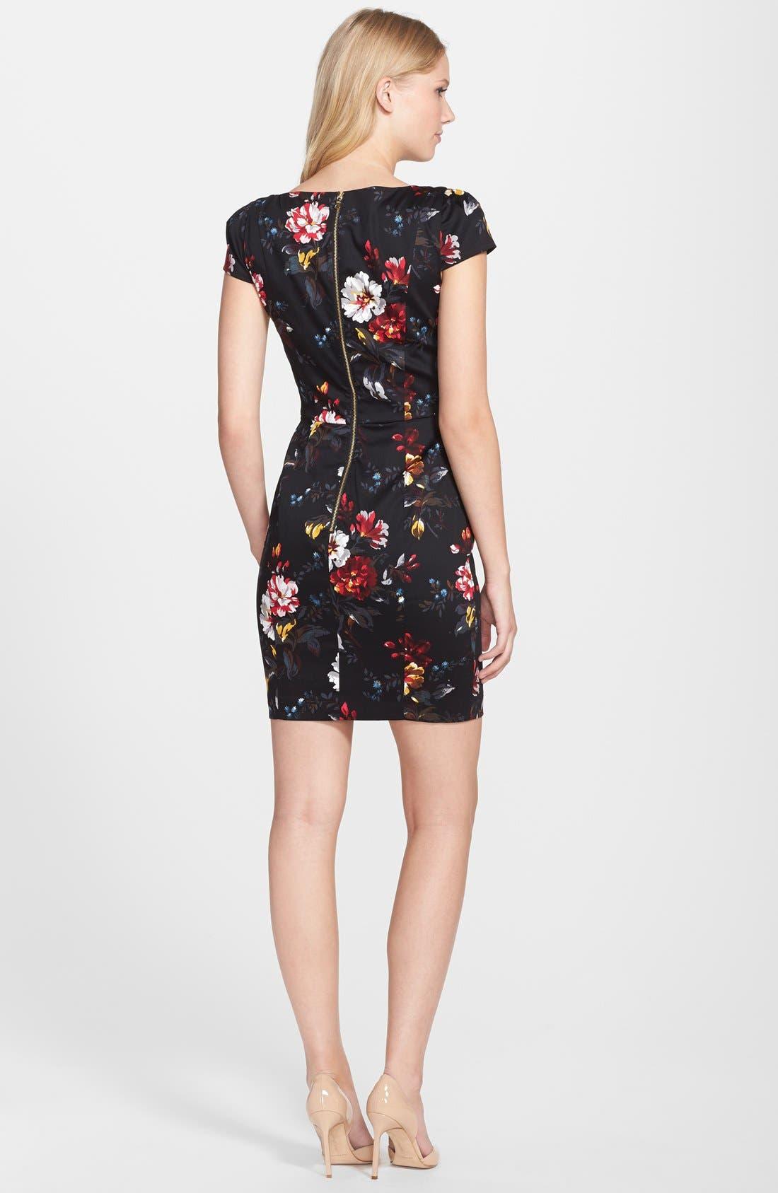 'Gardini' Floral Print Cotton Sheath Dress,                             Alternate thumbnail 2, color,                             006
