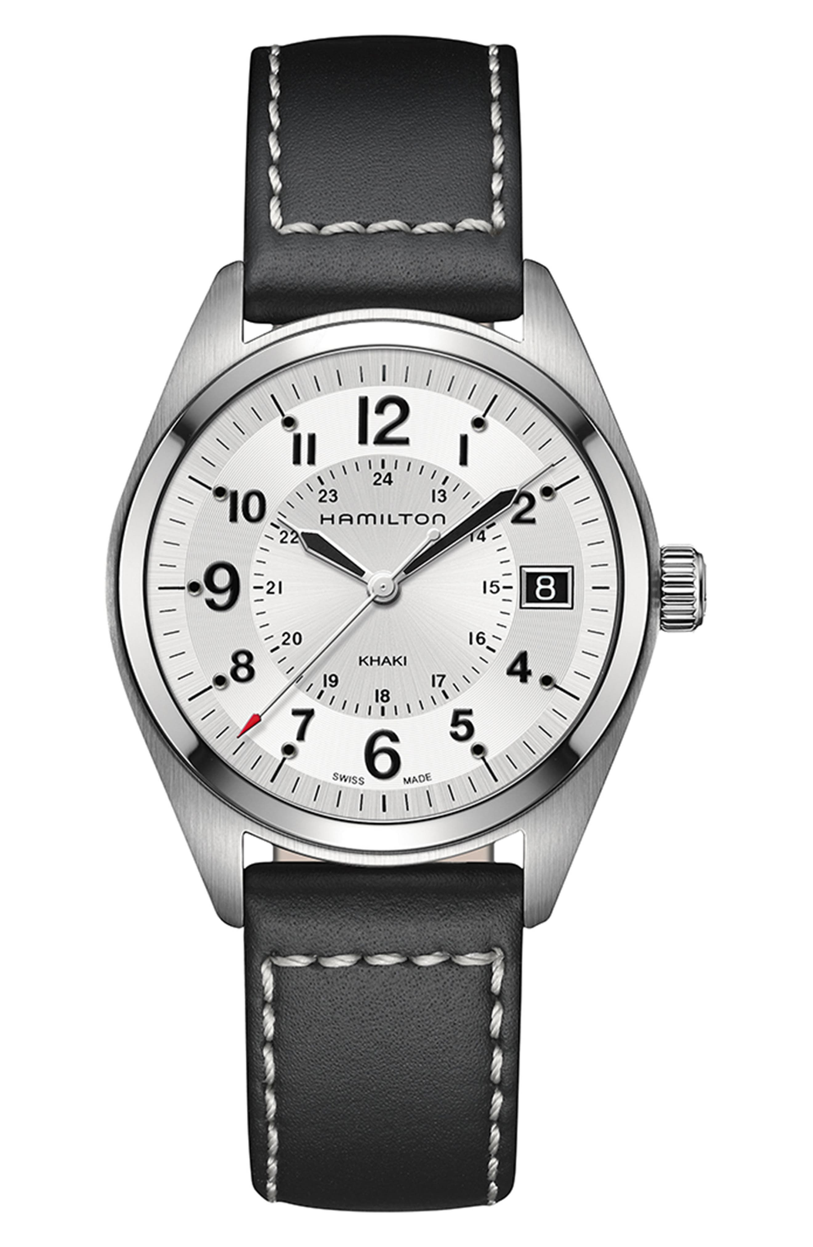 Khaki Field Leather Strap Watch, 40mm,                         Main,                         color, BLACK/ SILVER