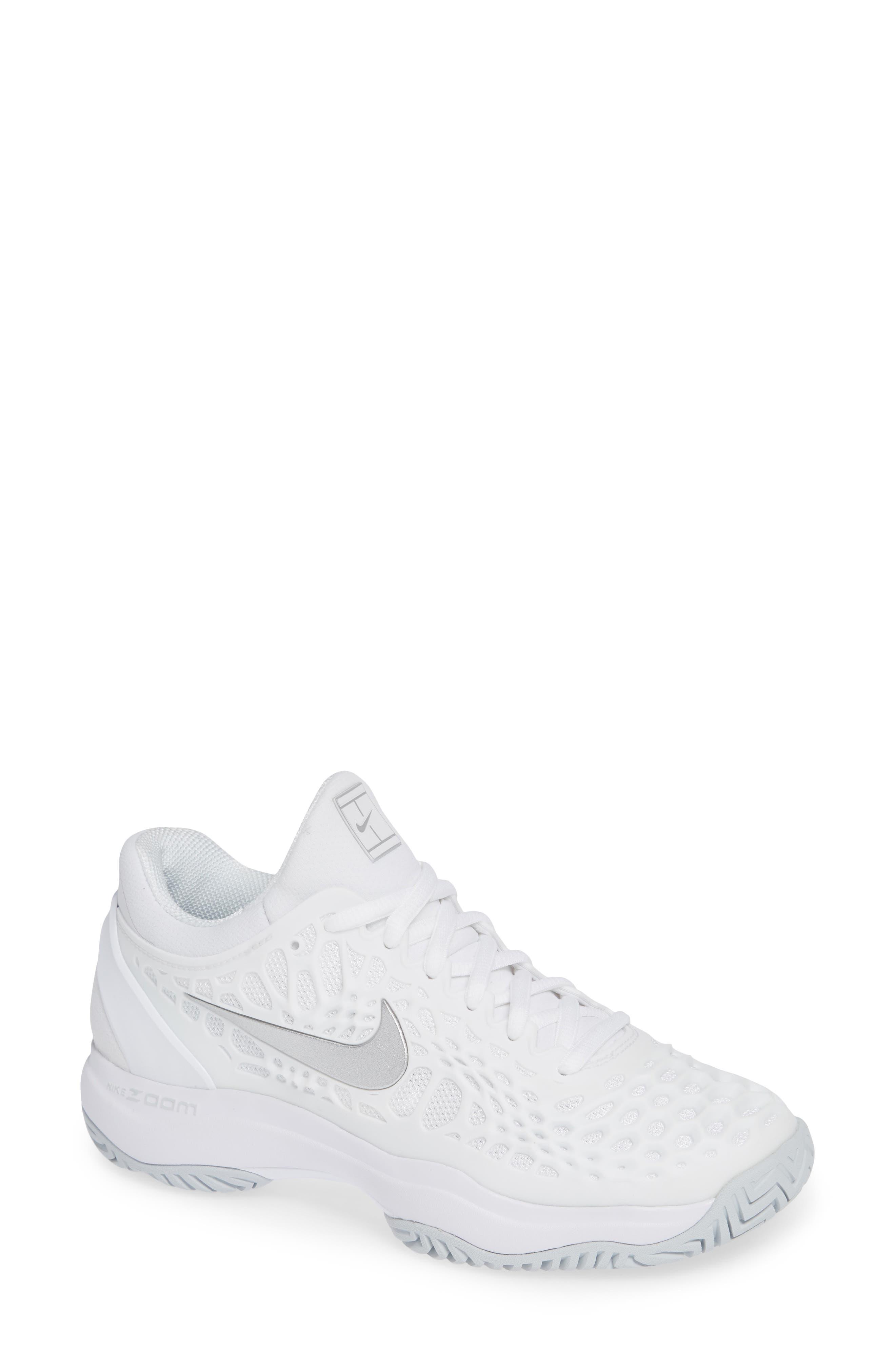 Air Zoom Cage 3 HC Tennis Shoe, Main, color, WHITE/ SILVER/ PLATINUM