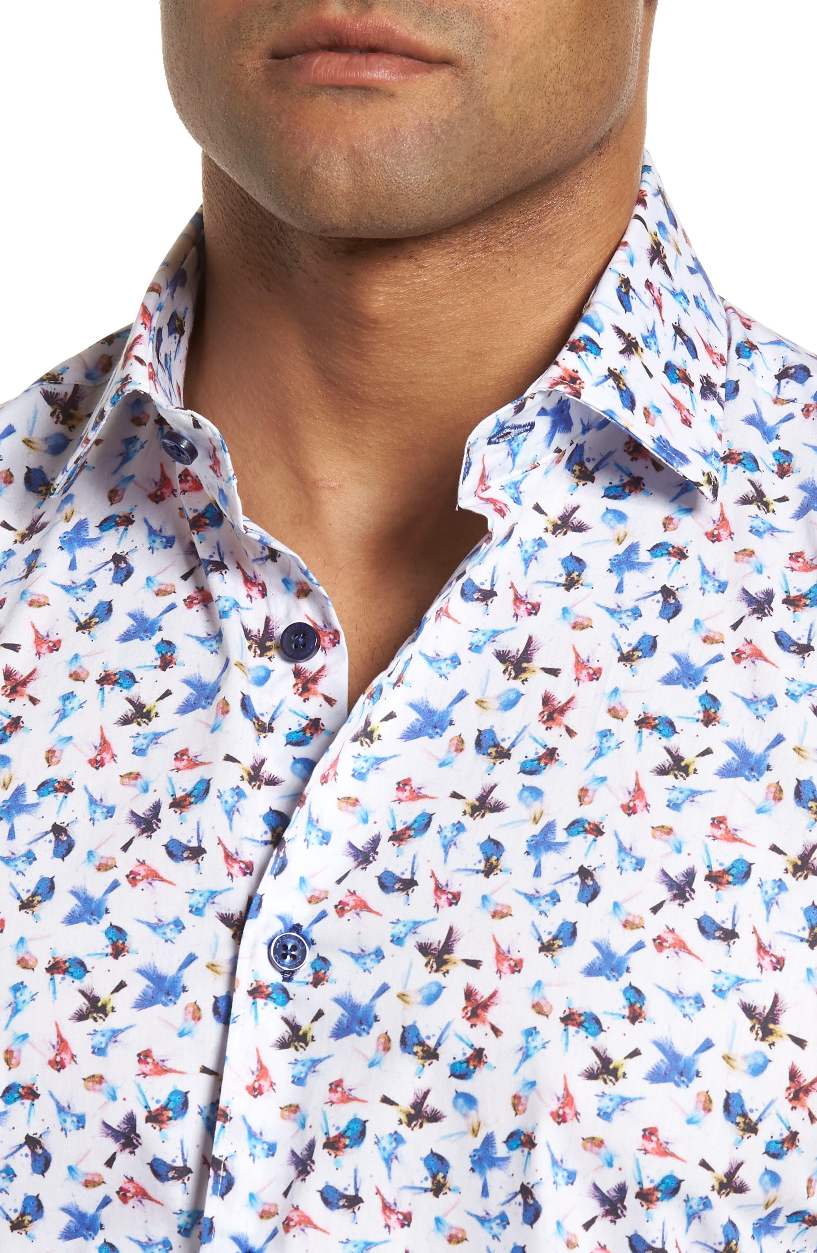 Slim Fit Bird Print Sport Shirt,                             Alternate thumbnail 4, color,                             963