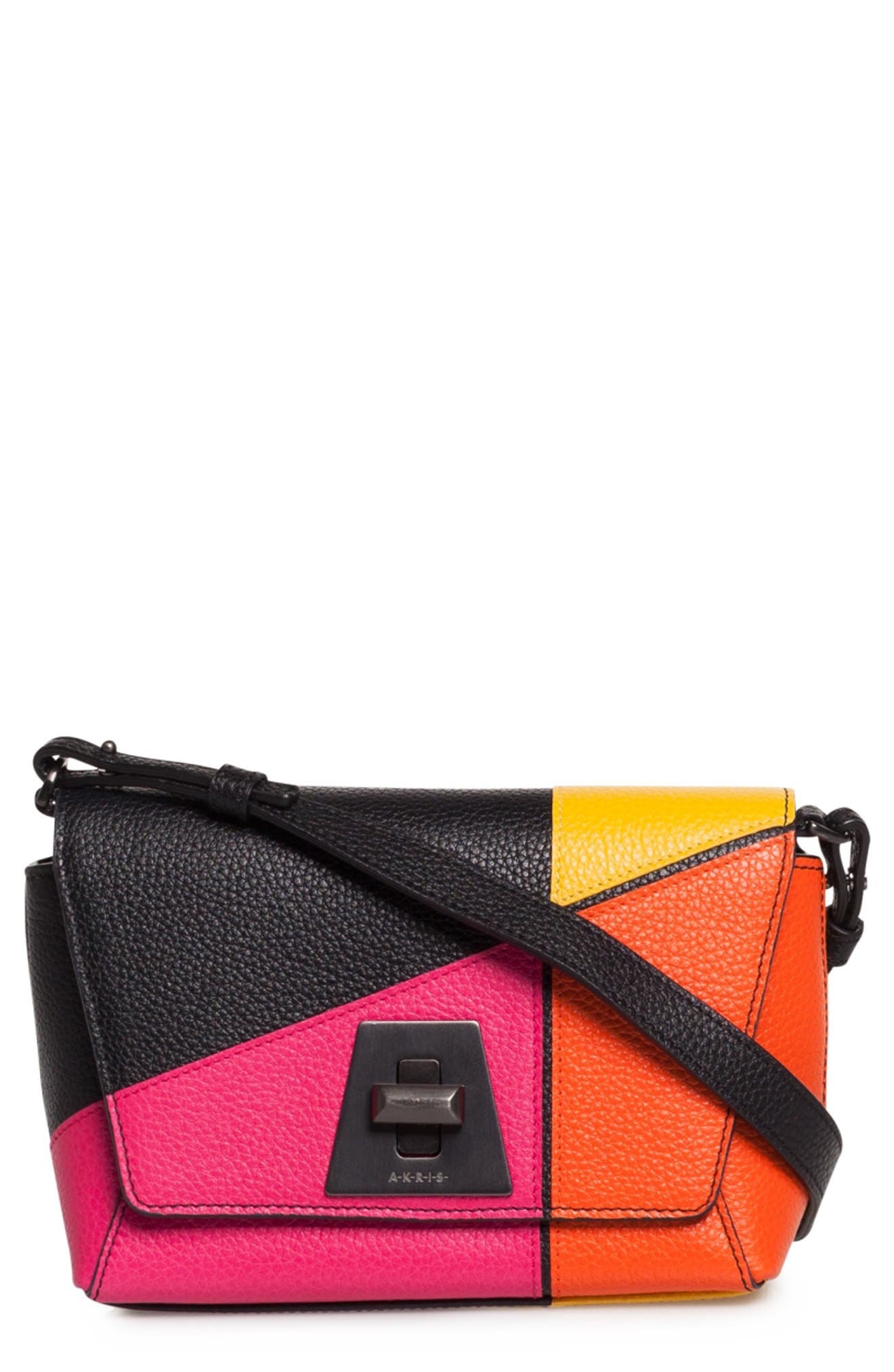 Akris LITTLE ANOUK PATCHWORK LEATHER CROSSBODY BAG - PINK