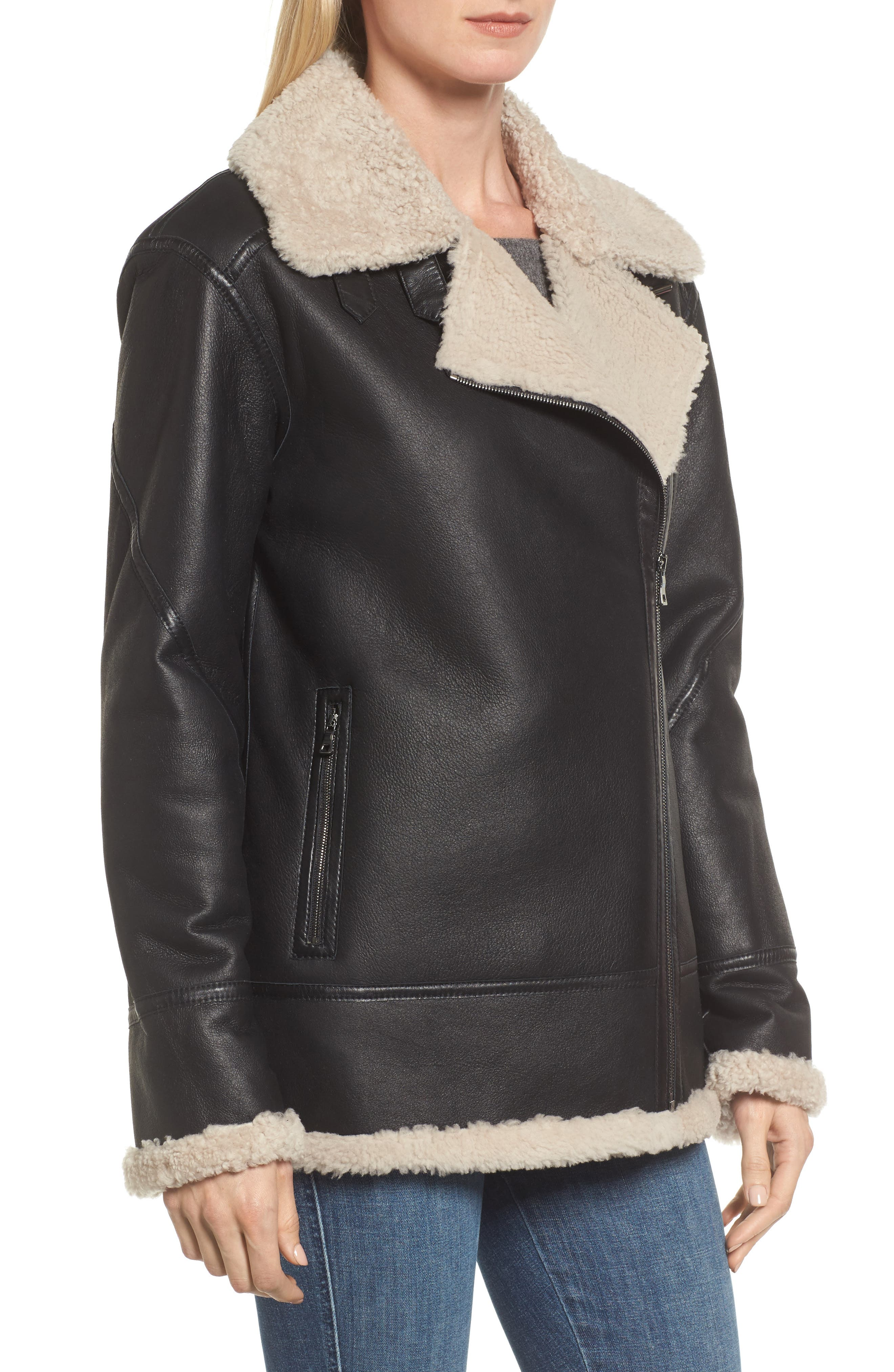 Genuine Shearling Aviator Jacket,                             Alternate thumbnail 4, color,                             001