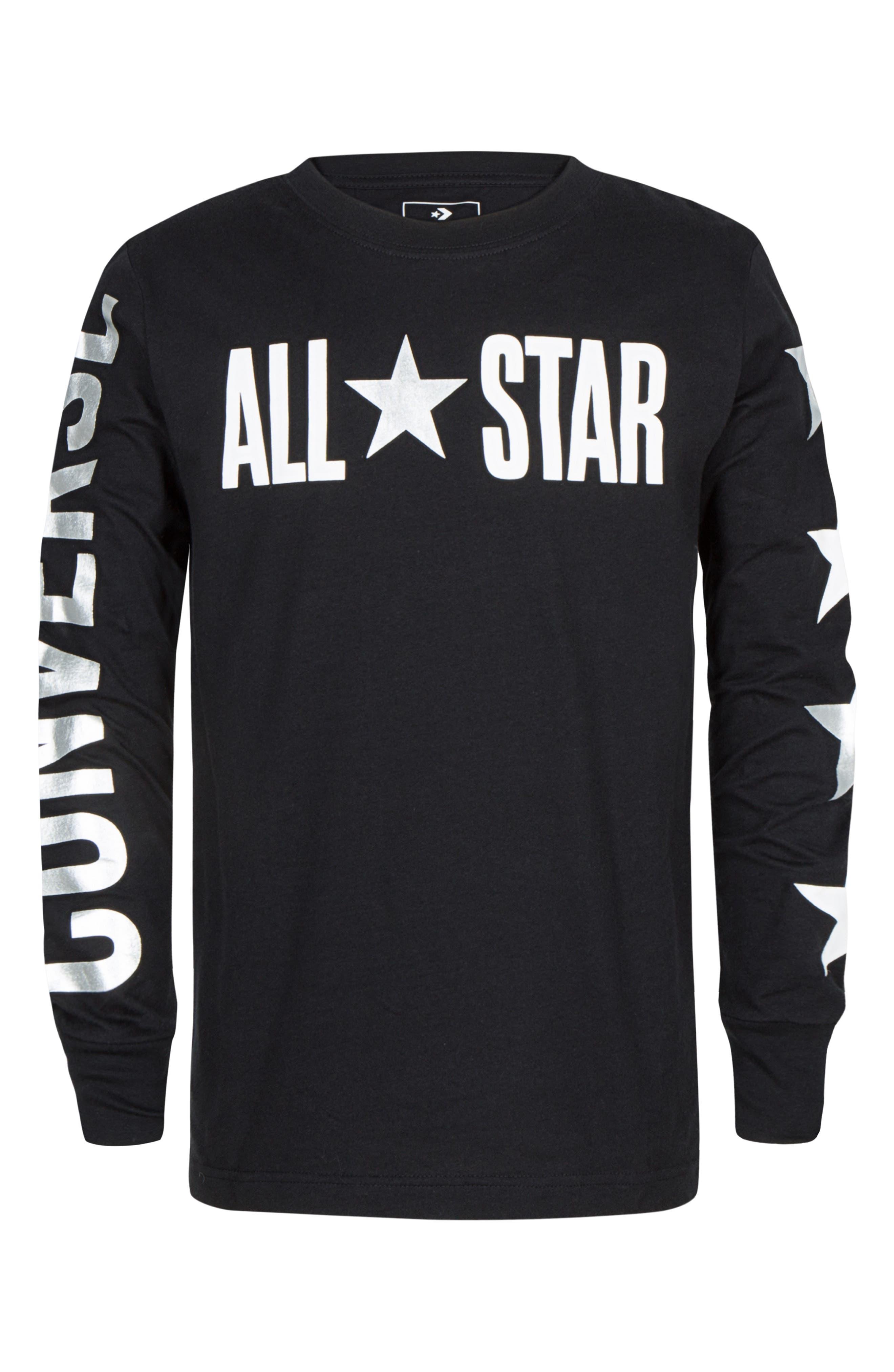 Boys Converse All Star Long Sleeve TShirt Size XL (1315y)  Black