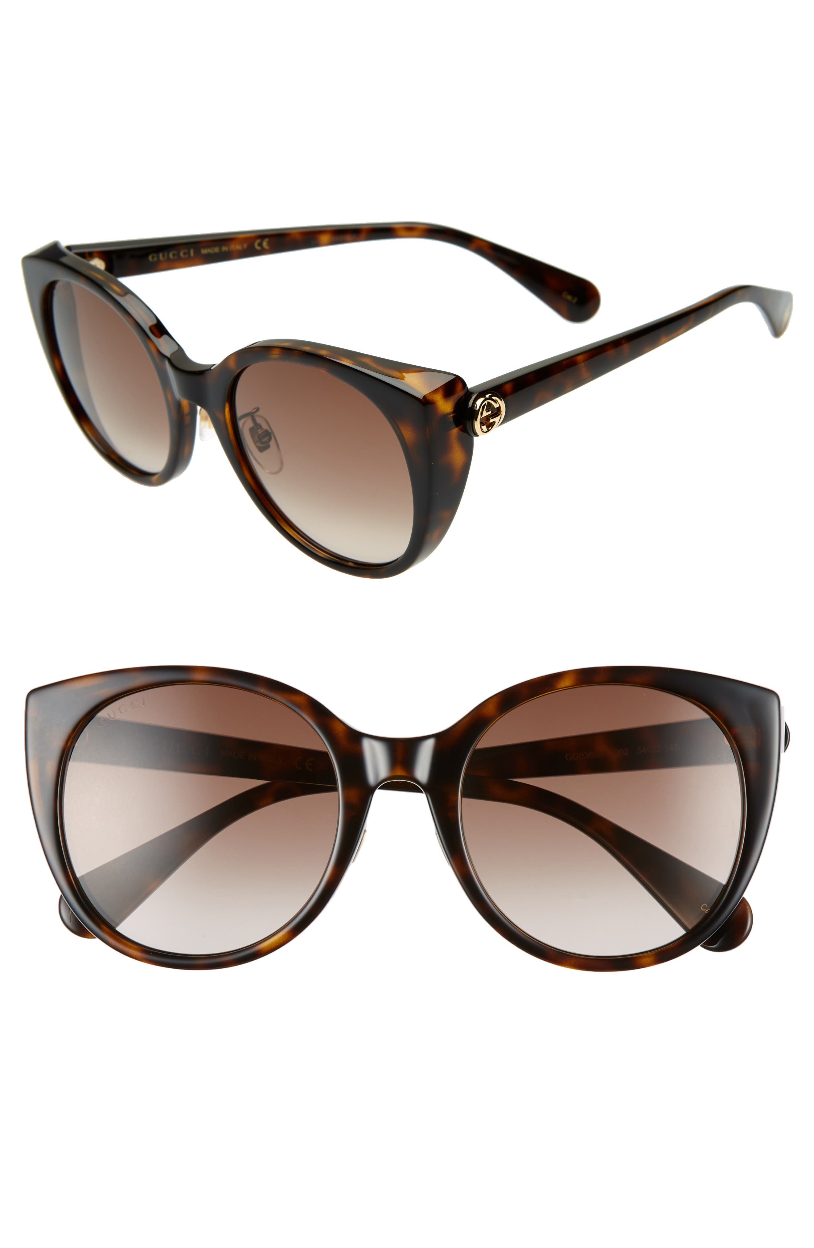 6f0c2d5231 Gucci 5m Cat Eye Sunglasses - Dark Havana  Brown Gradient