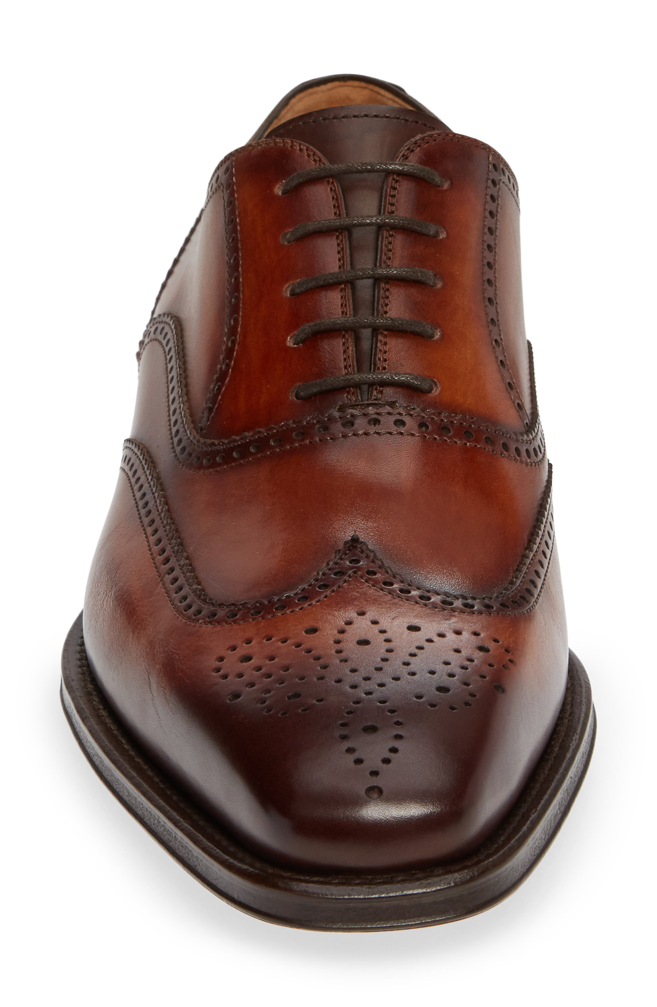 Ledger Wingtip,                             Alternate thumbnail 4, color,                             COGNAC LEATHER