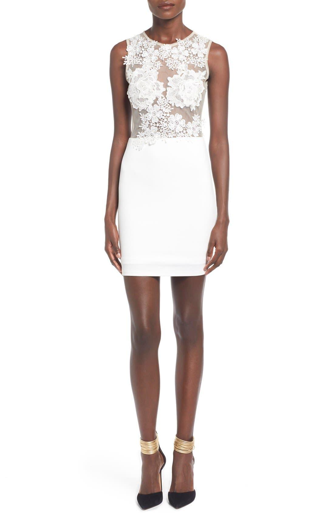 Floral Body-Con Dress,                         Main,                         color, 100