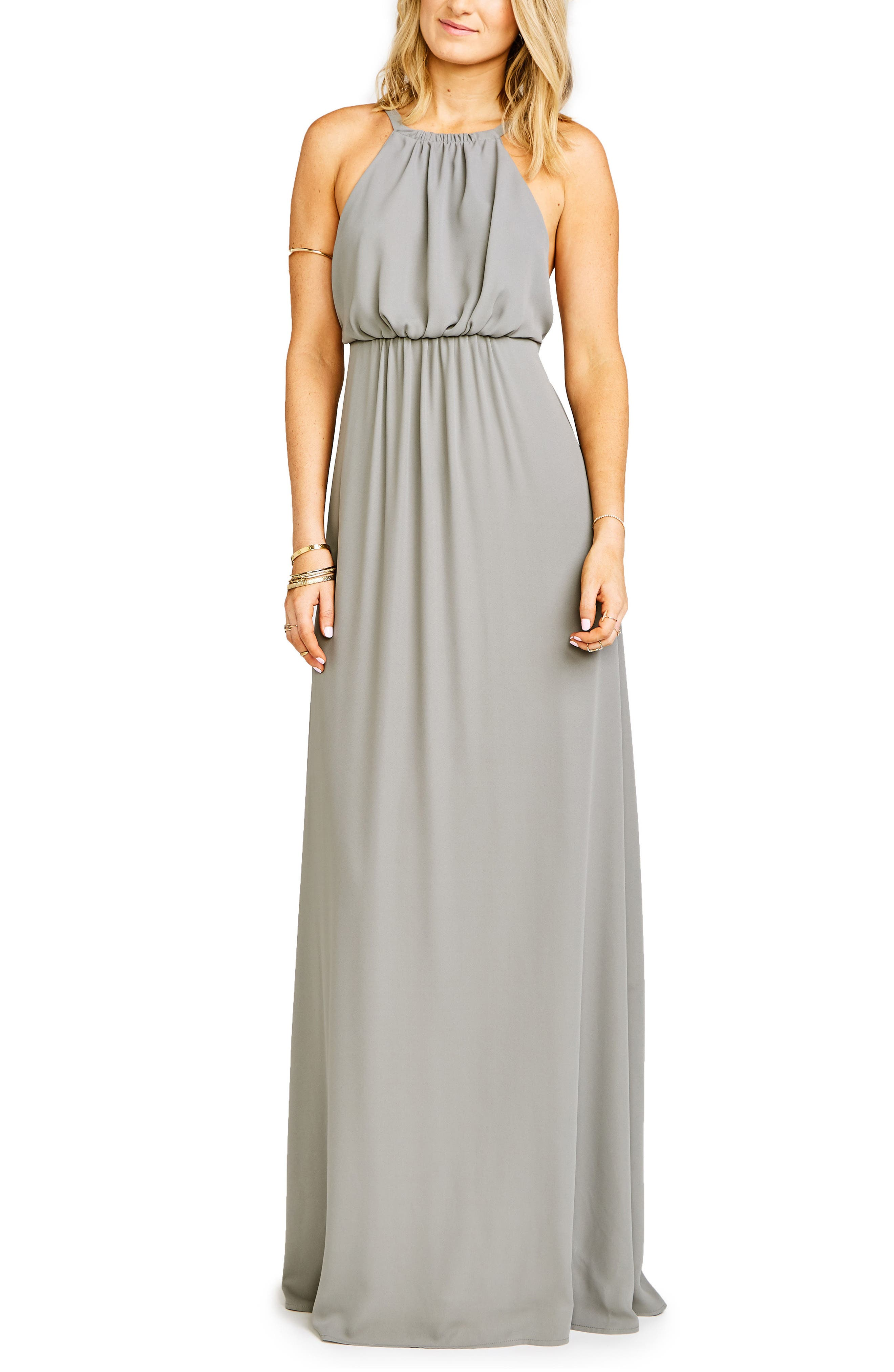 Amanda Open Back Blouson Gown,                             Alternate thumbnail 8, color,