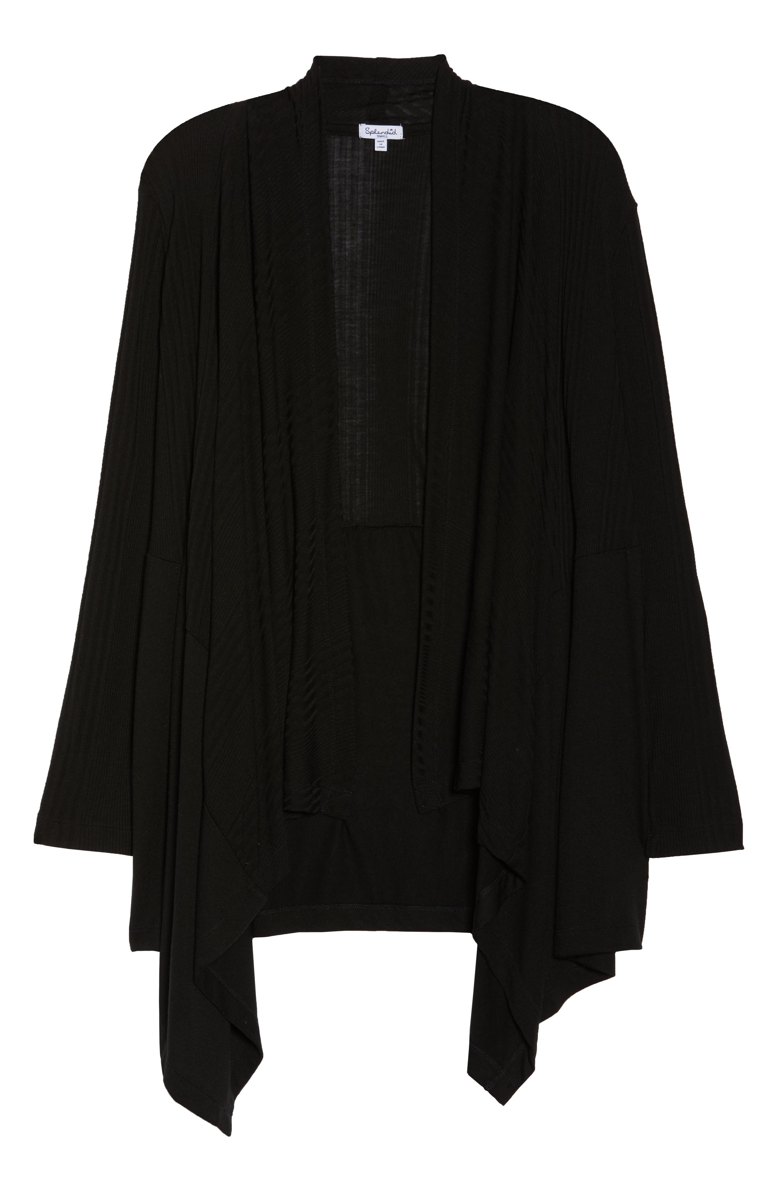 Pajama Cardigan,                             Alternate thumbnail 6, color,                             BLACK
