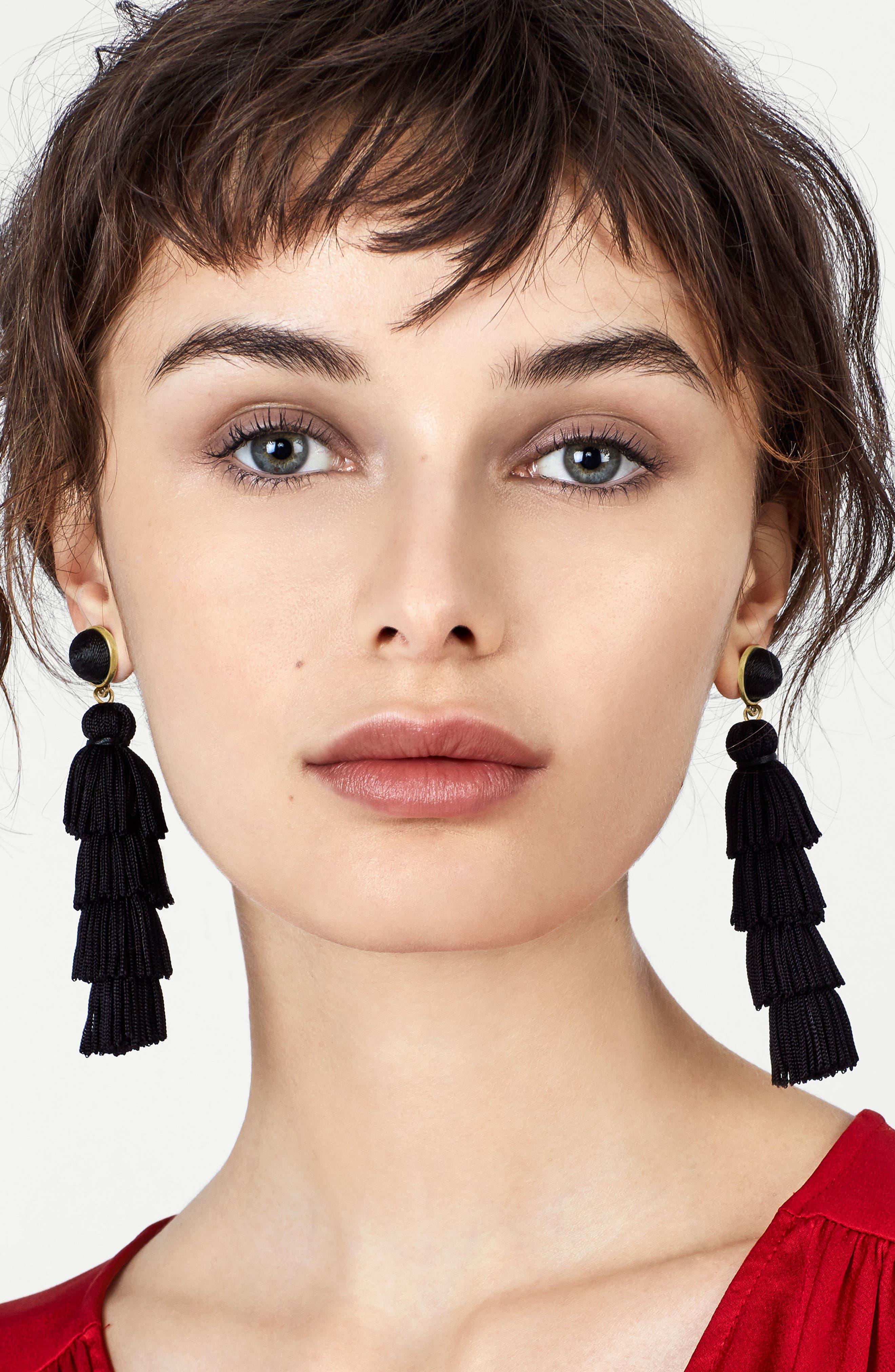 Taylor Tassel Drop Earrings,                             Alternate thumbnail 2, color,                             001