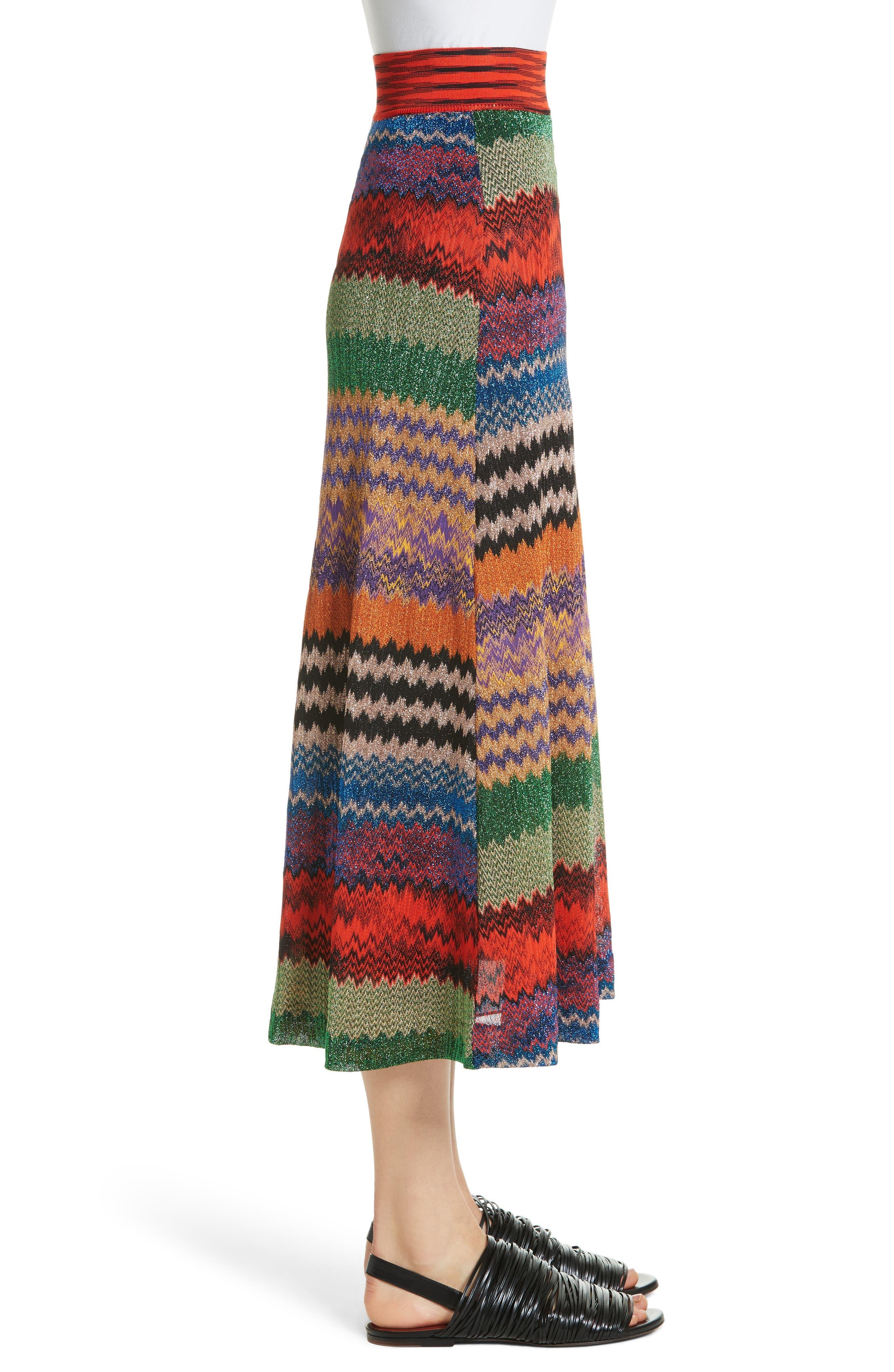 Metallic Stripe Knit Midi Skirt,                             Alternate thumbnail 3, color,                             640