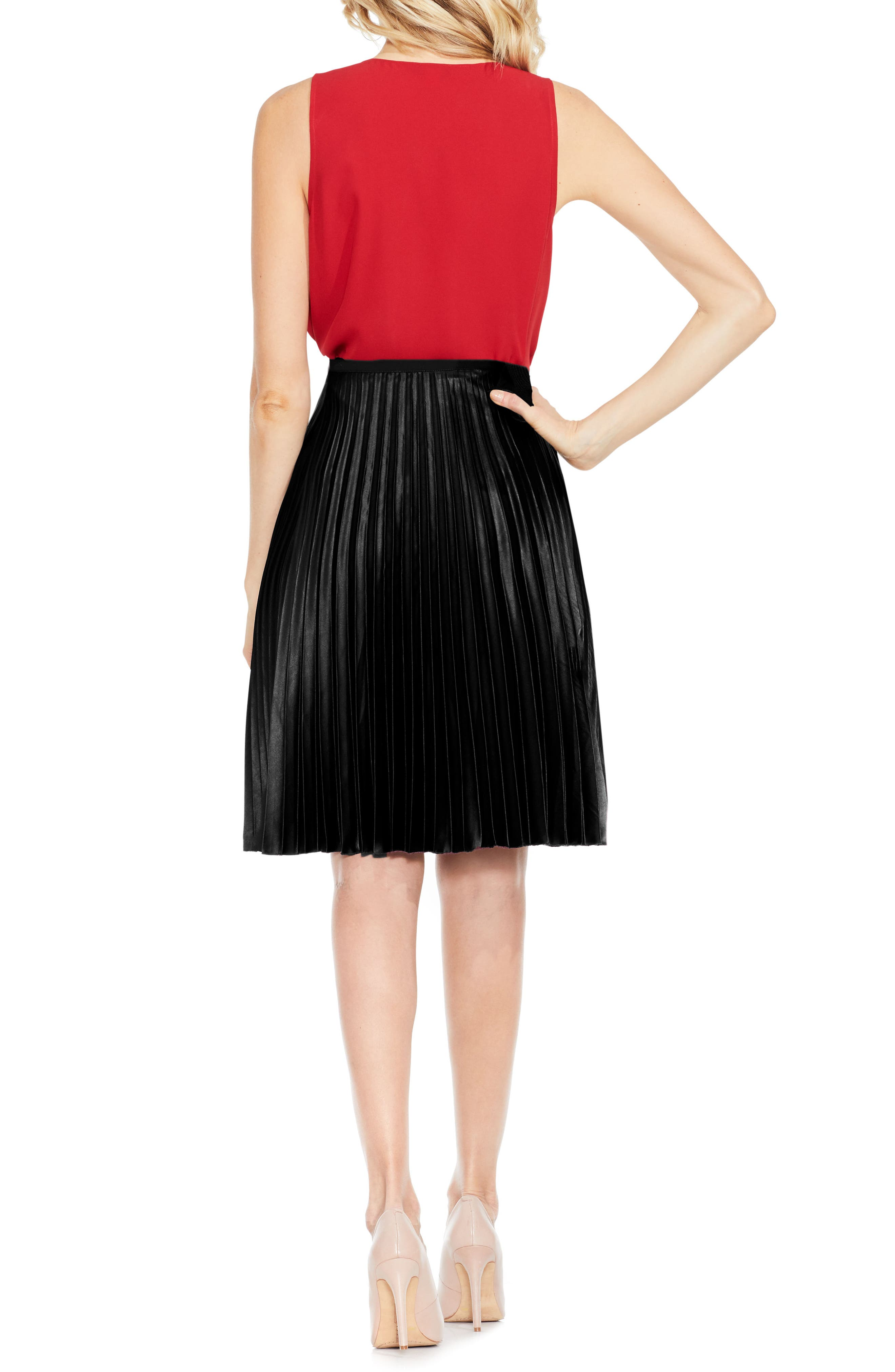 Lacquered Pleated Skirt,                             Alternate thumbnail 2, color,                             006