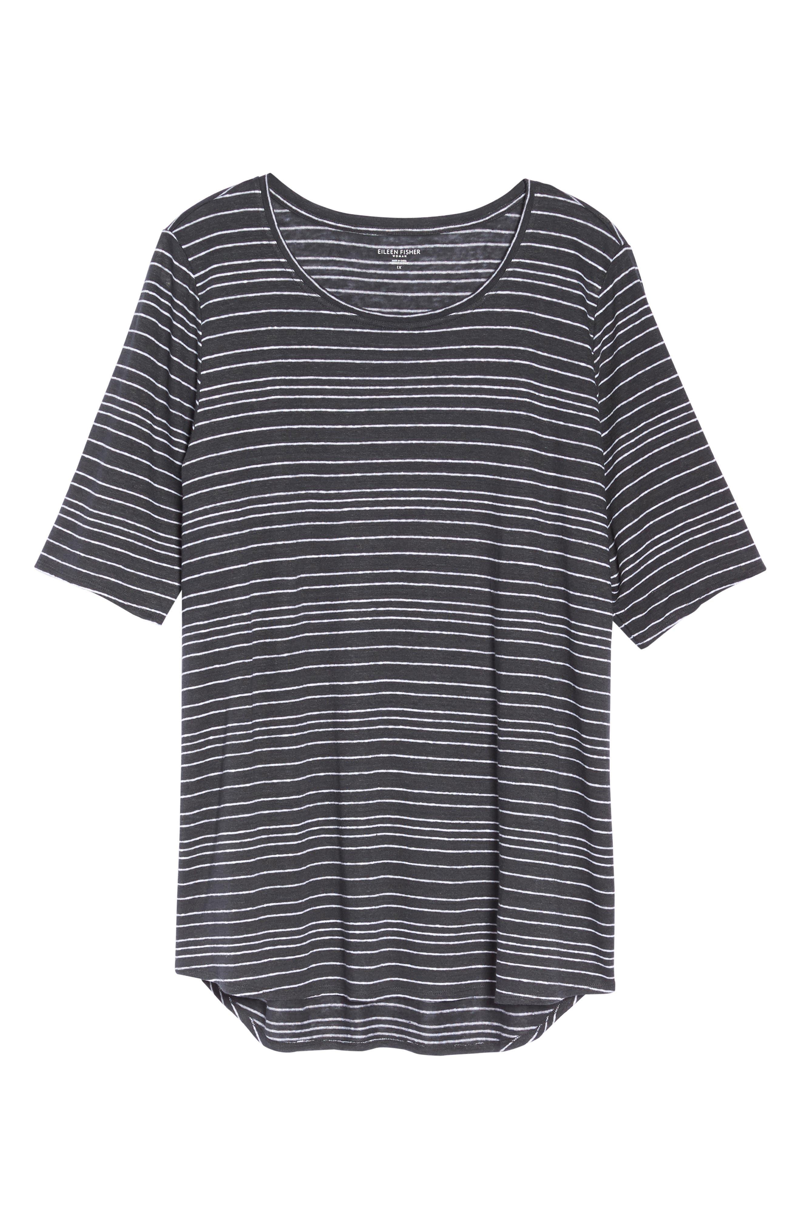 Stripe Organic Linen Top,                             Alternate thumbnail 11, color,