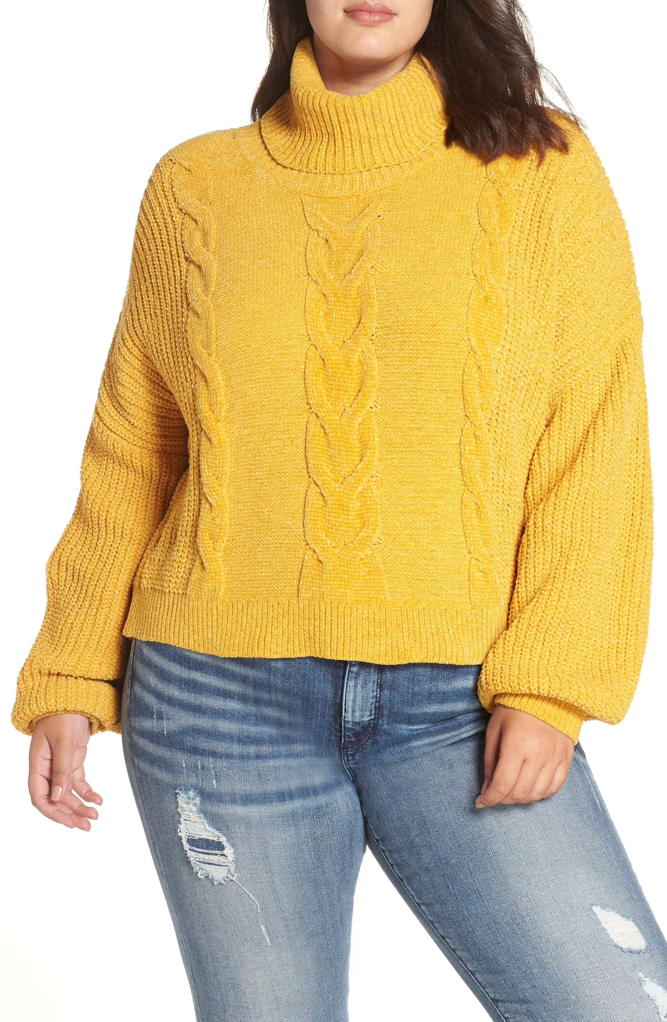 Cable Knit Chenille Sweater,                         Main,                         color, YELLOW MINERAL