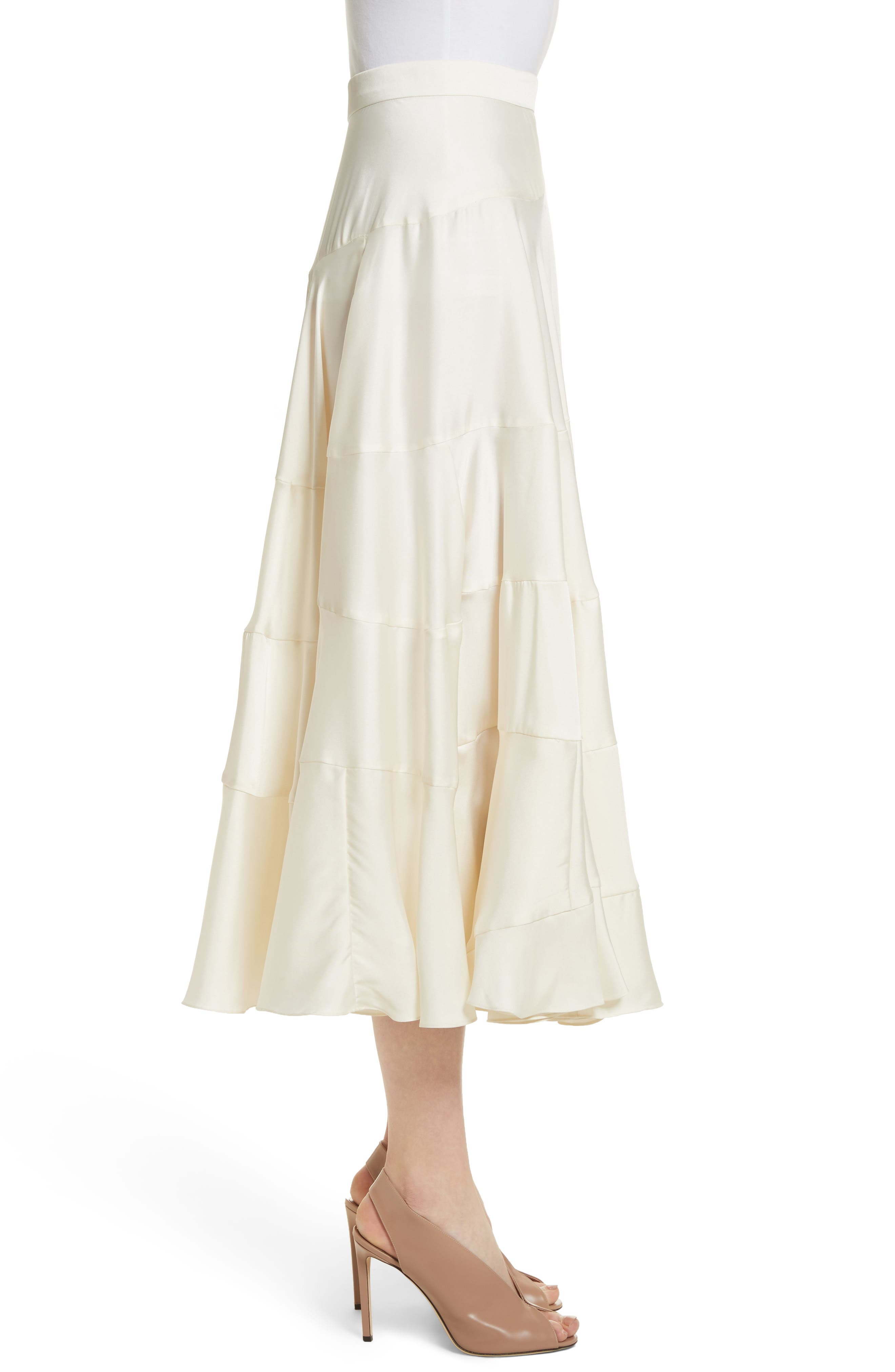 Lasse Satin Paneled Midi Skirt,                             Alternate thumbnail 3, color,                             103