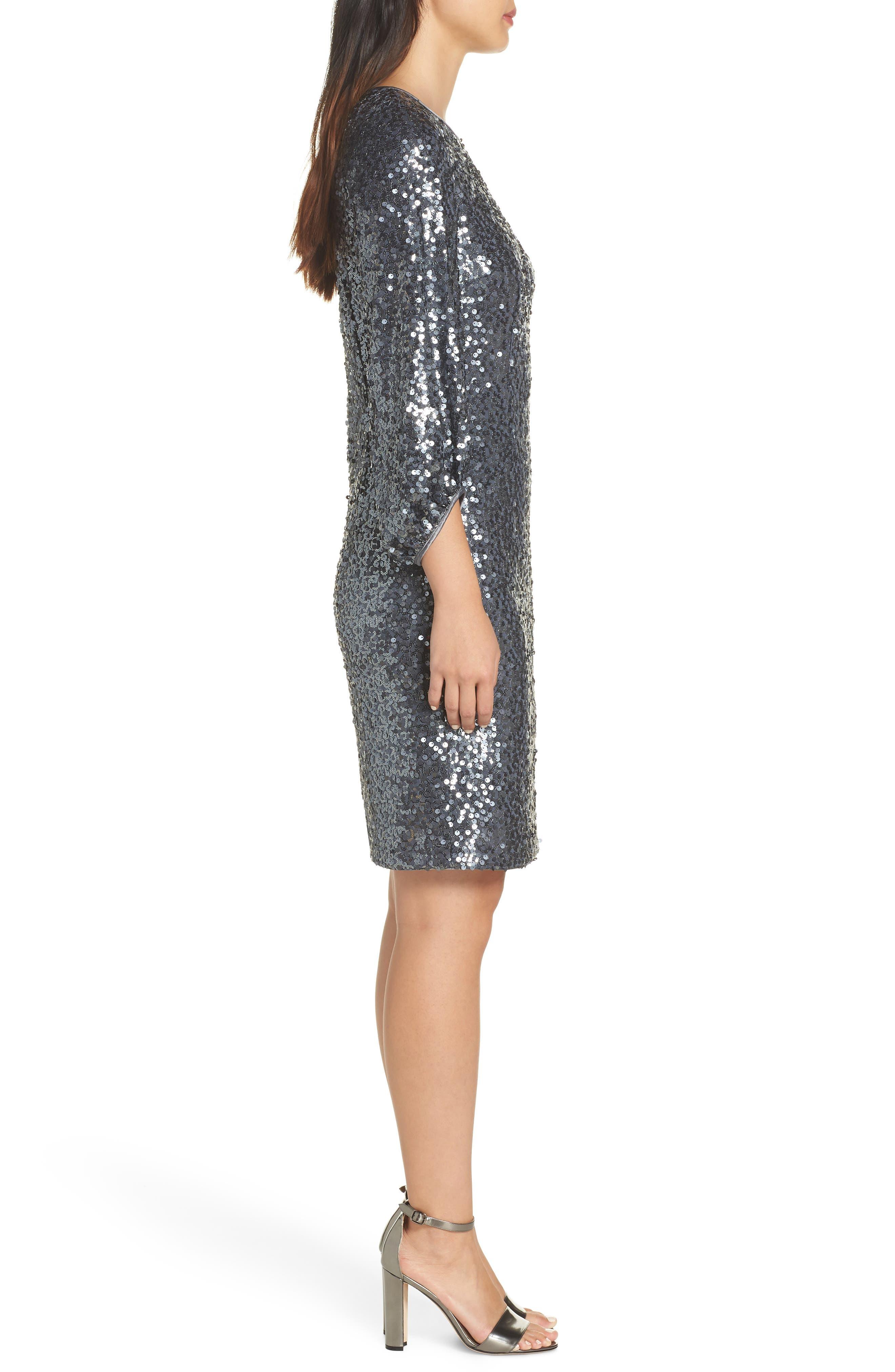 Blouson Sleeve Sequin Sheath Dress,                             Alternate thumbnail 3, color,                             GREY