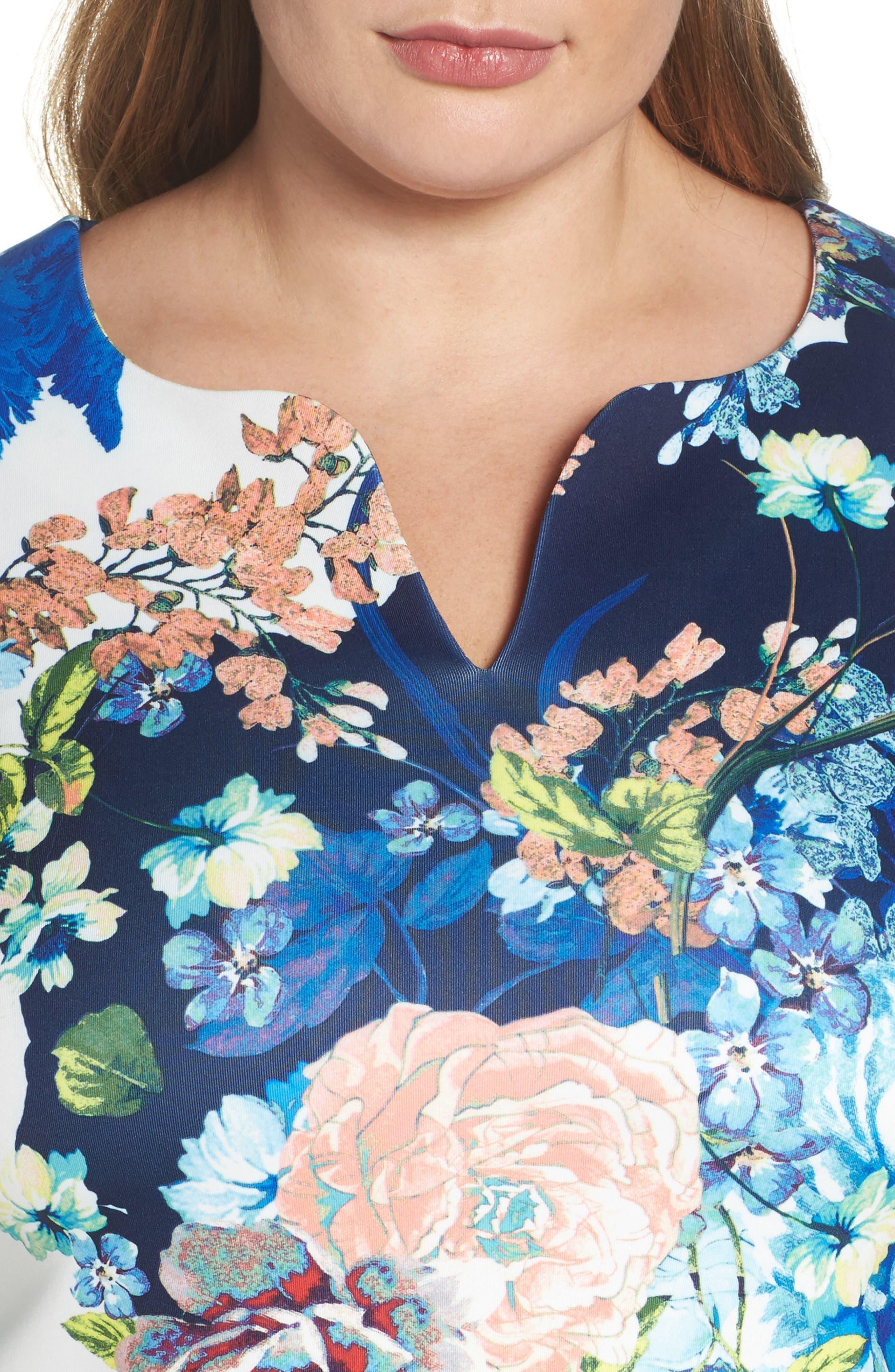 Floral Jersey Sheath Dress,                             Alternate thumbnail 4, color,                             436
