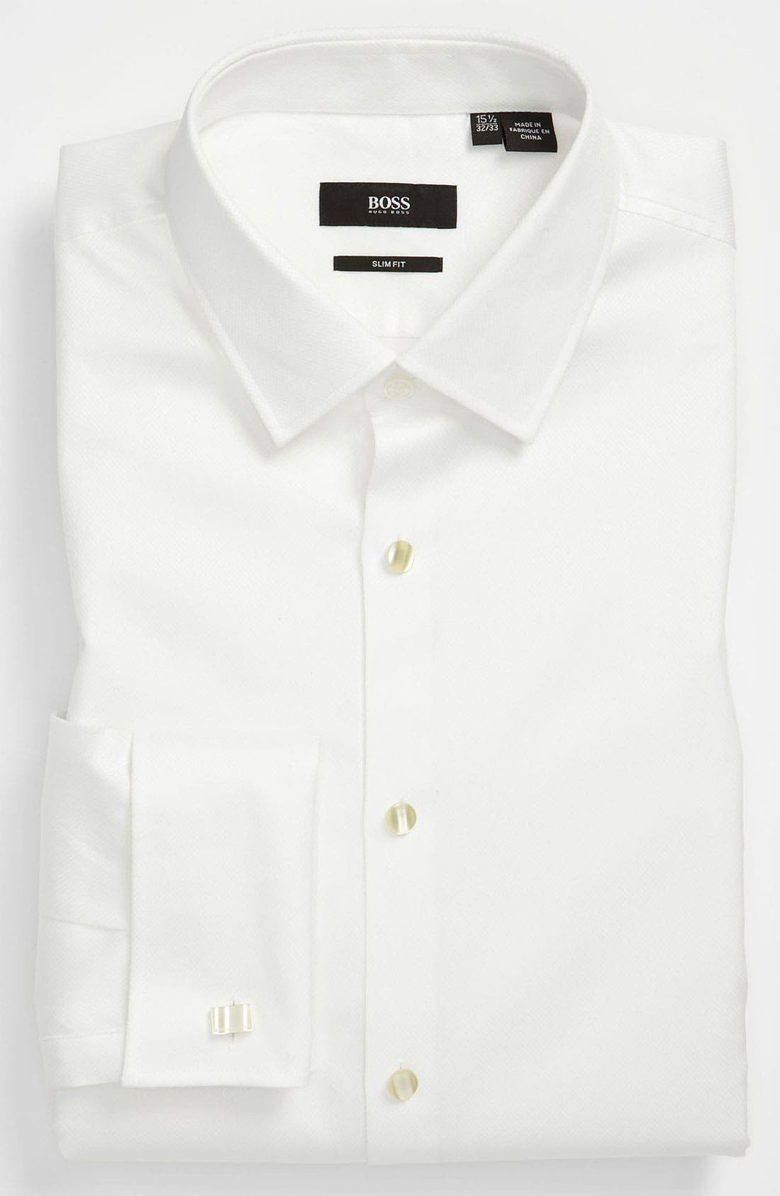 Jameson Slim Fit Diamond Weave French Cuff Tuxedo Shirt,                         Main,                         color, 120