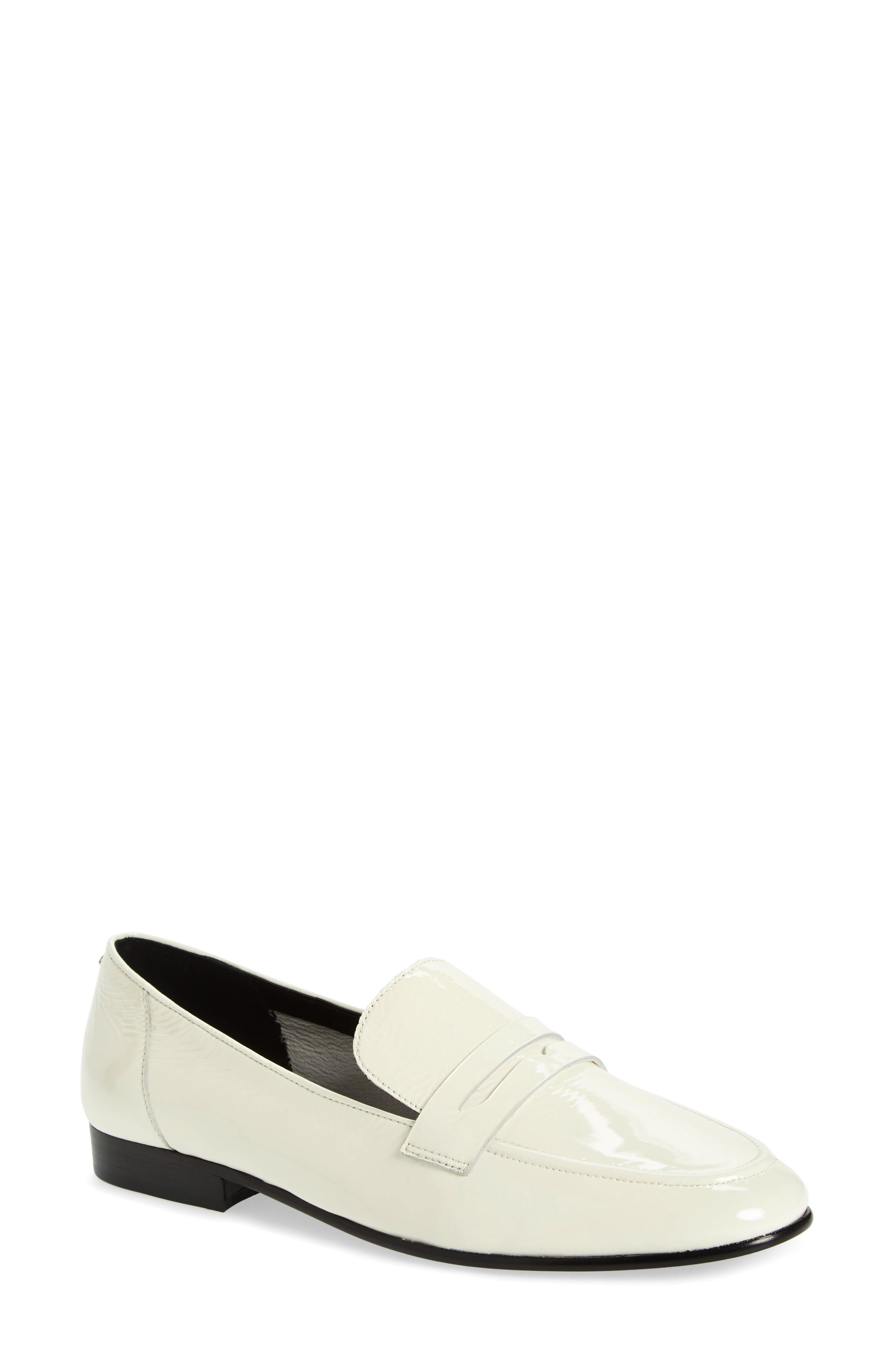 genevieve loafer,                             Main thumbnail 1, color,                             OFF WHITE CRINKLE PAT