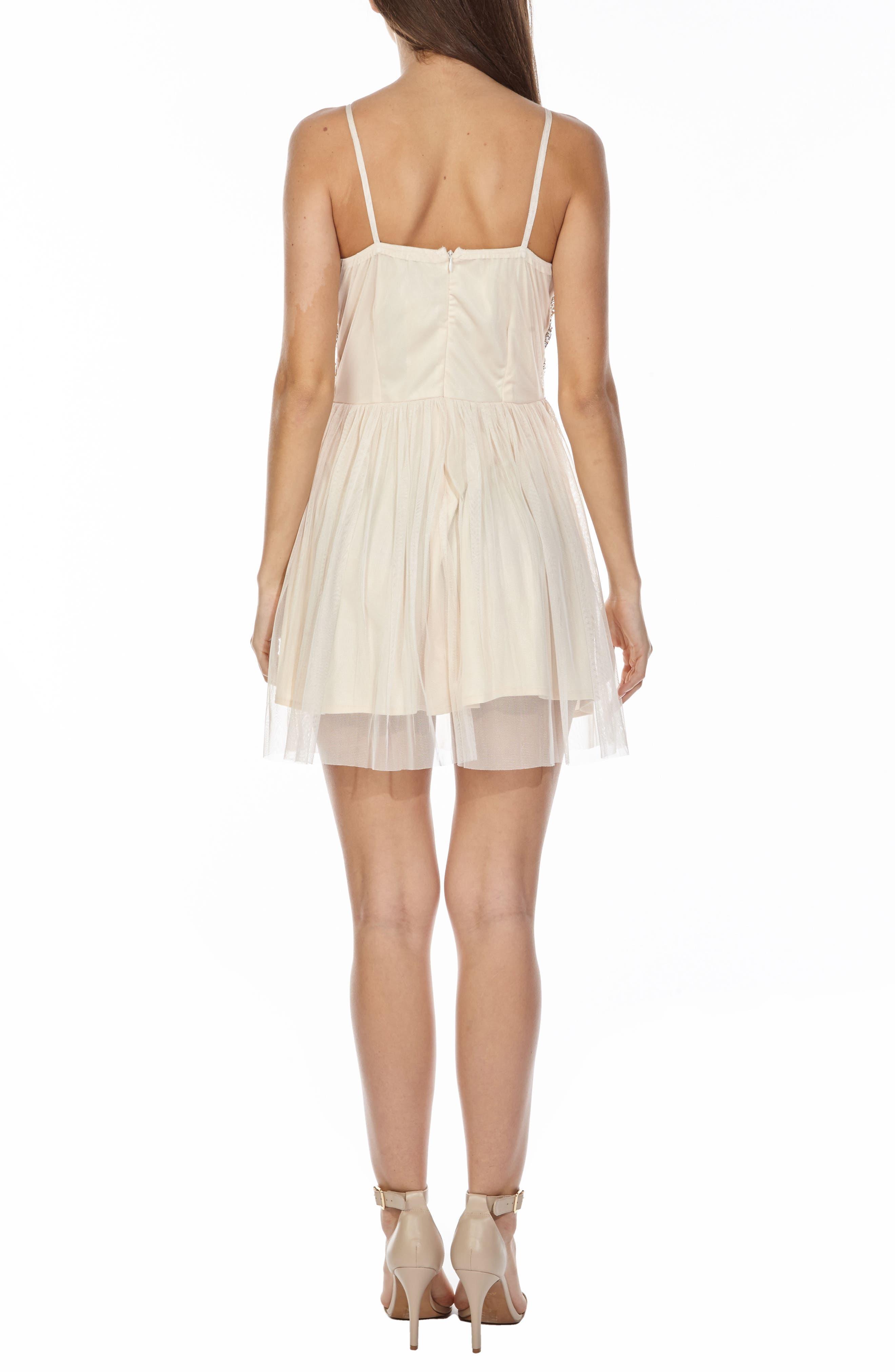 Peach Embellished Skater Dress,                             Alternate thumbnail 2, color,                             900