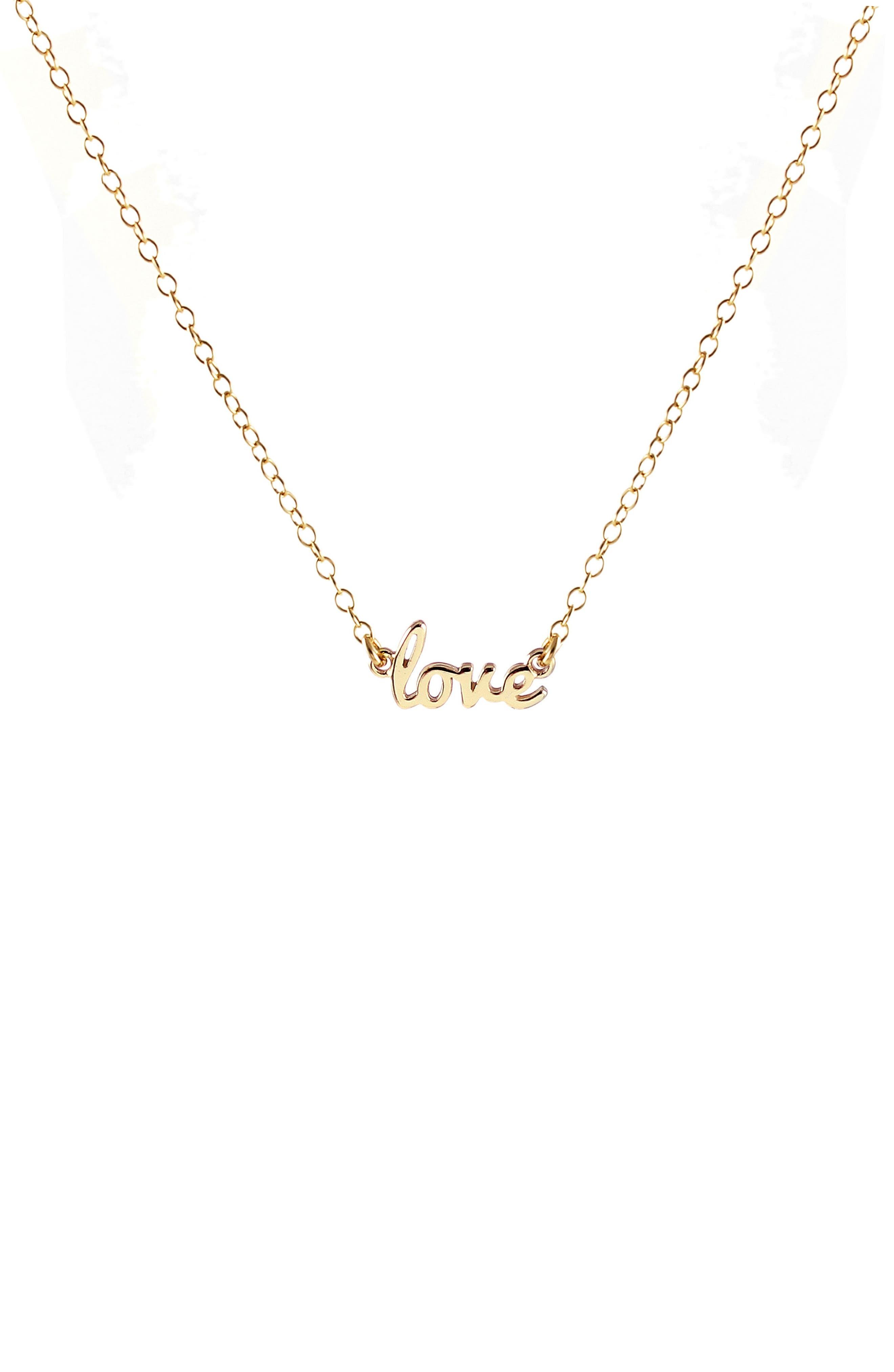 Love Script Necklace,                         Main,                         color, GOLD